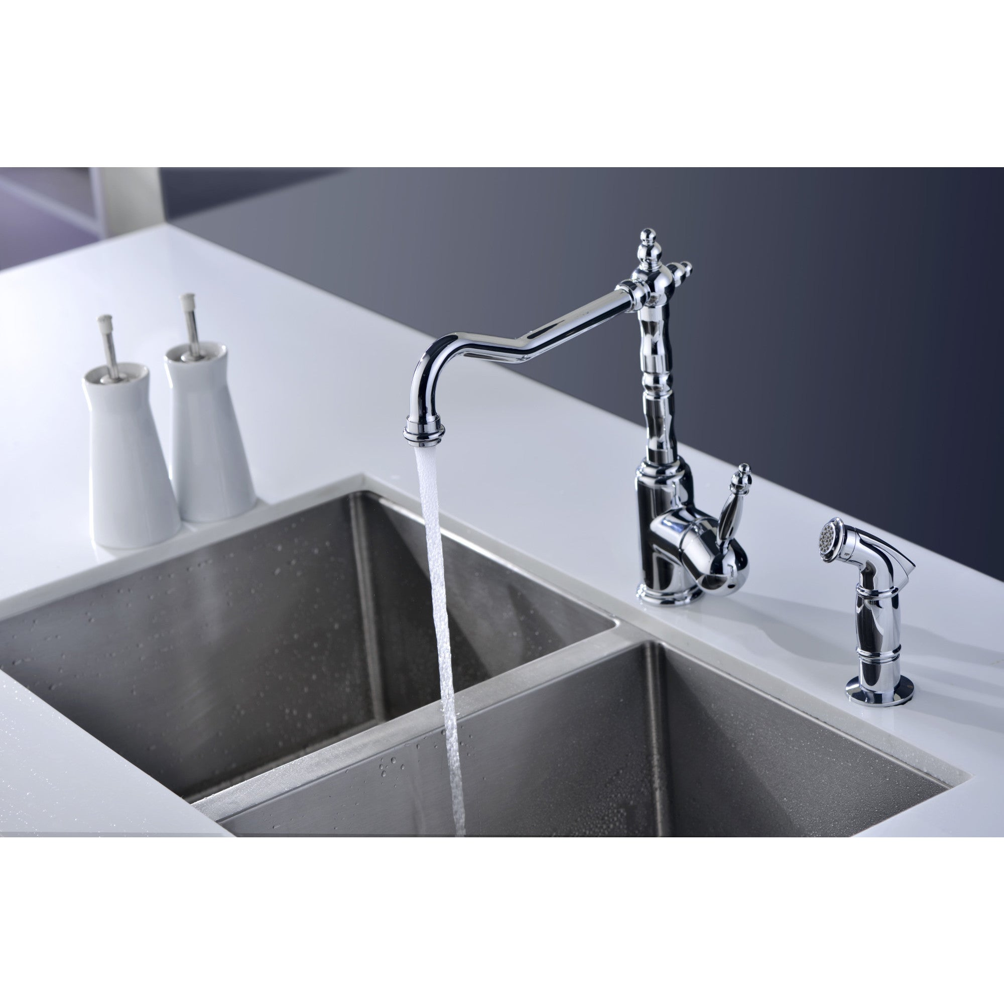 ANZZI Locke Single-Handle Standard Kitchen Faucet with Side Sprayer ...