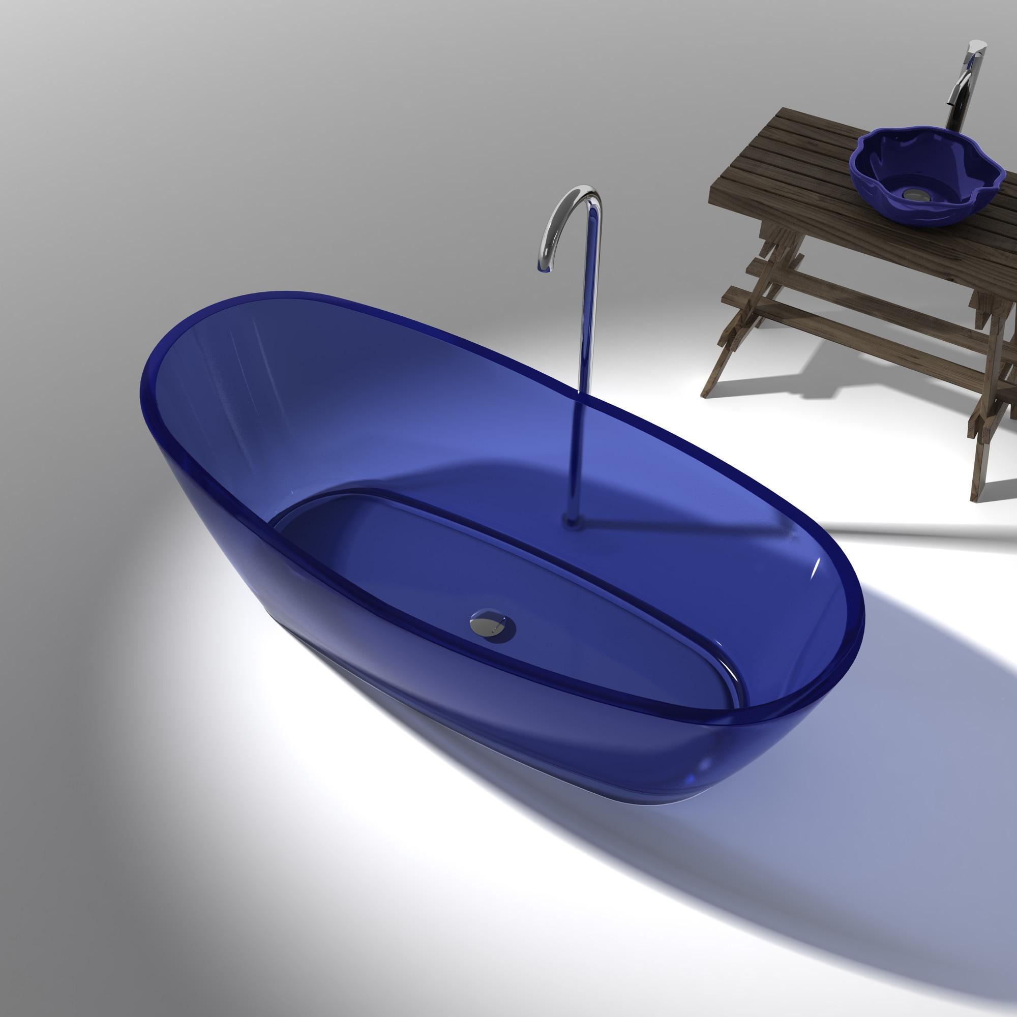 ANZZI Ember 5.4-foot Regal Blue Manmade Stone Slipper Flatbottom Non ...