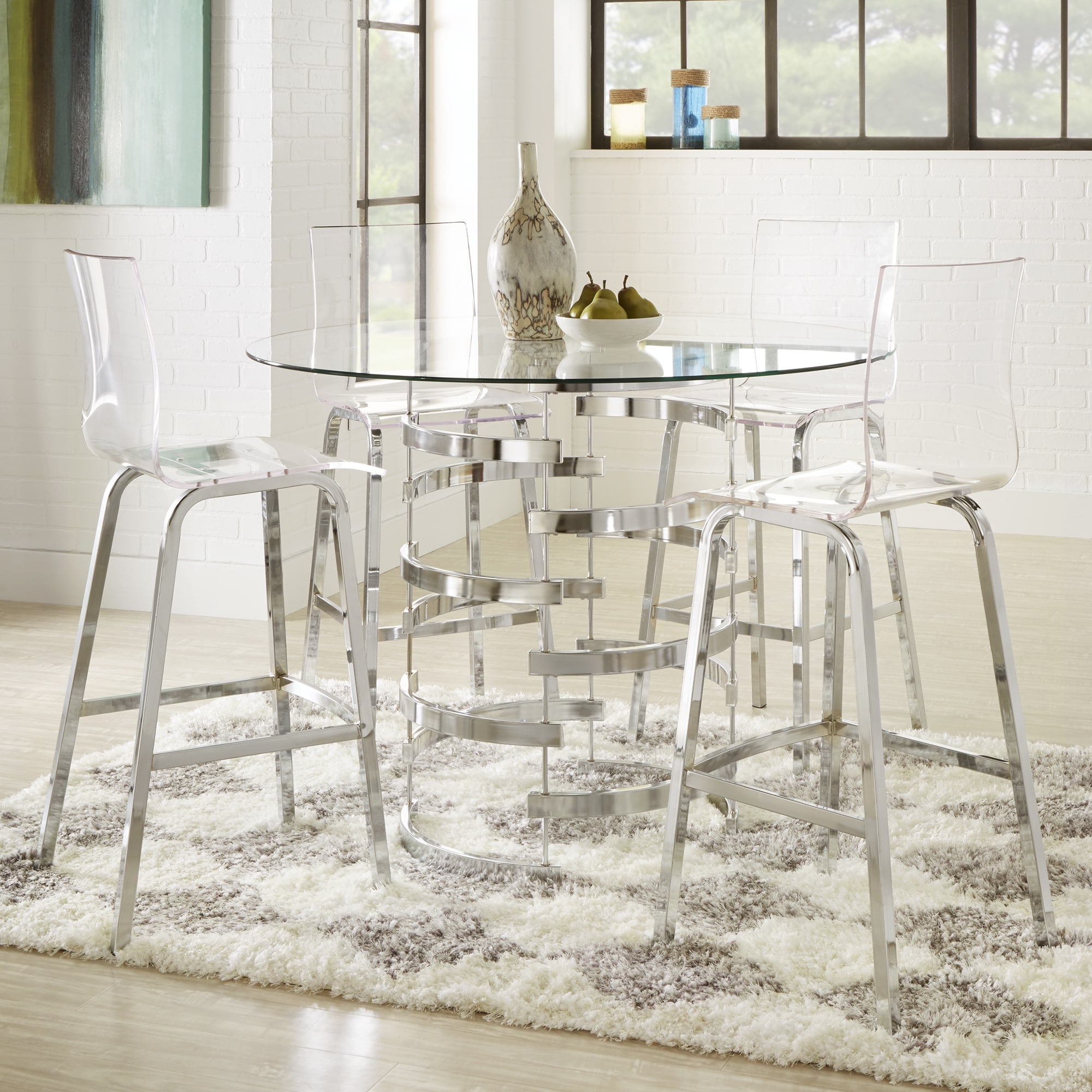 Shop Nova Round Glass Top Vortex Iron Base Counter Height Table By INSPIRE  Q Bold   On Sale   Free Shipping Today   Overstock.com   13777416