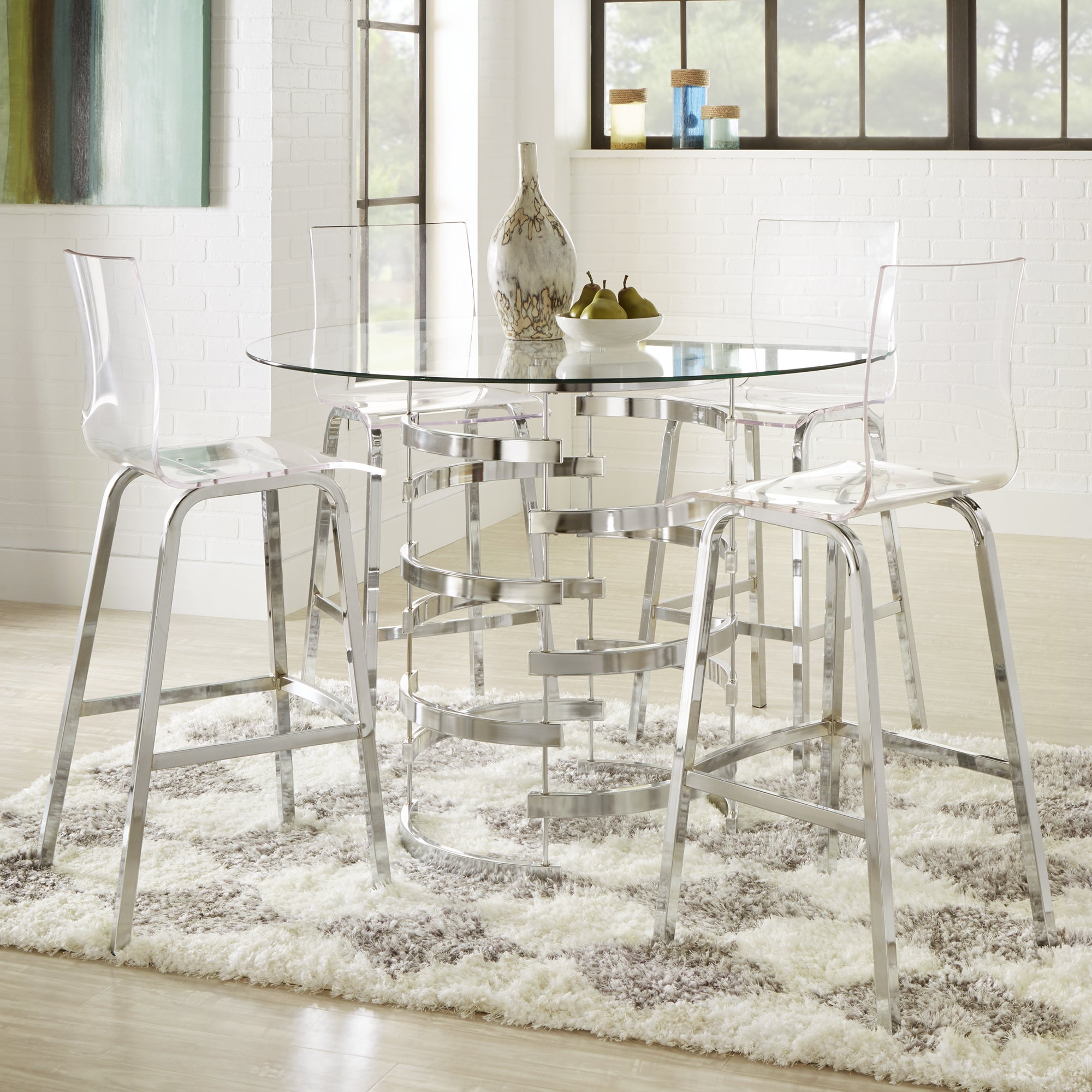 Shop Nova Round Glass Top Vortex Iron Base Counter Height Table By INSPIRE  Q Bold   Free Shipping Today   Overstock.com   13777416