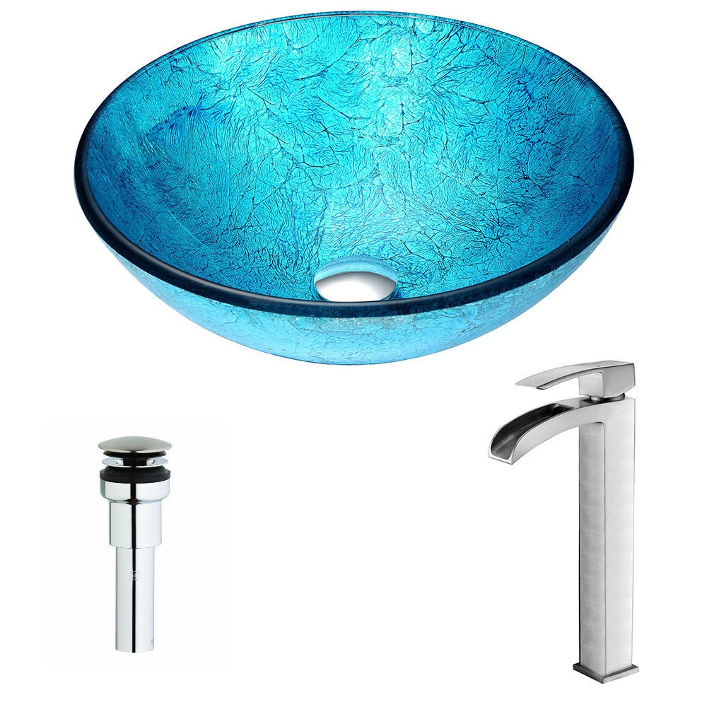 ANZZI Accent Series Emerald Ice Deco-Glass Vessel Sink with Key ...