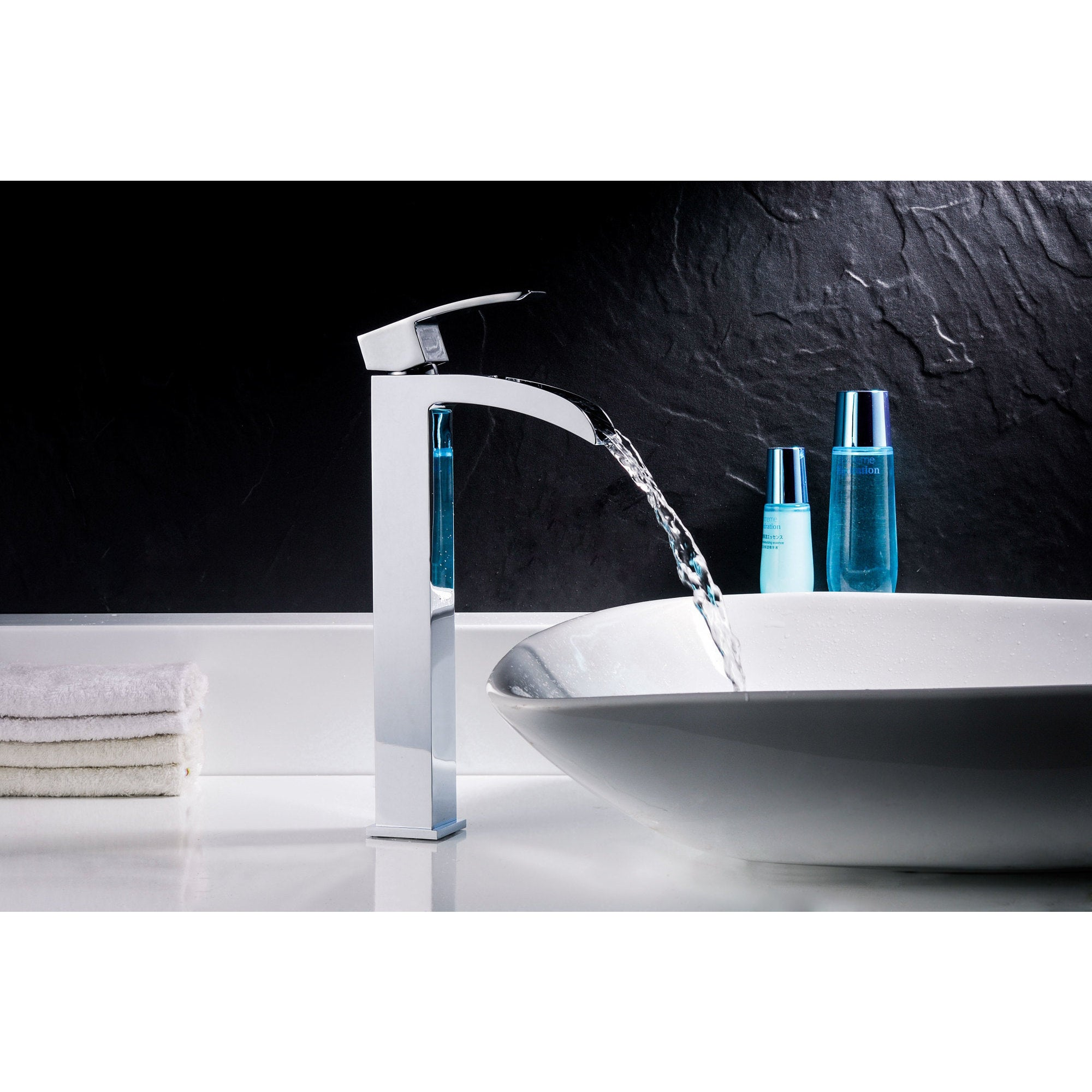 ANZZI Voce Series Lustrous Blue Deco-Glass Vessel Sink with Key ...