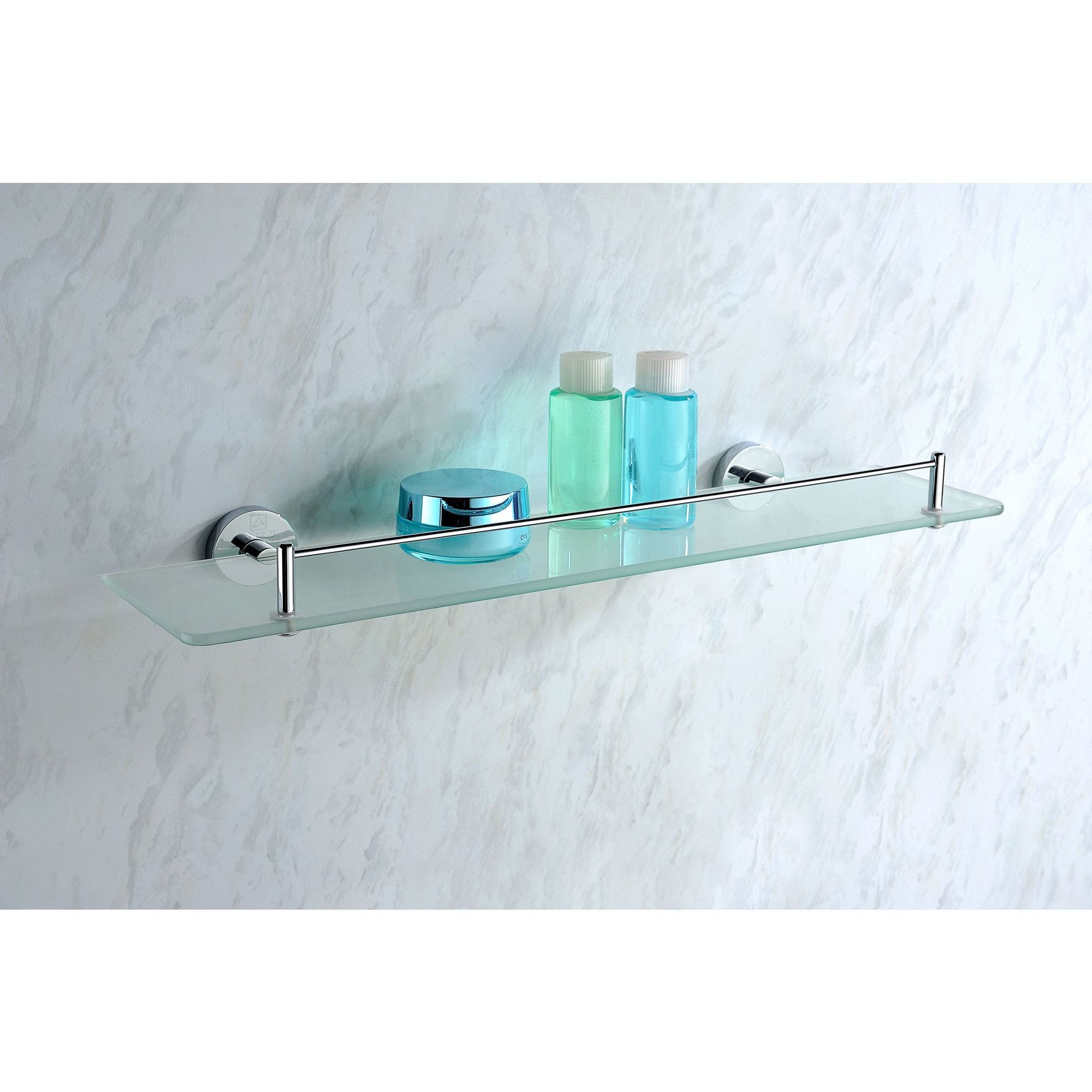 Shop ANZZI Caster Series 20 in. W Glass Shelf in Polished Chrome ...