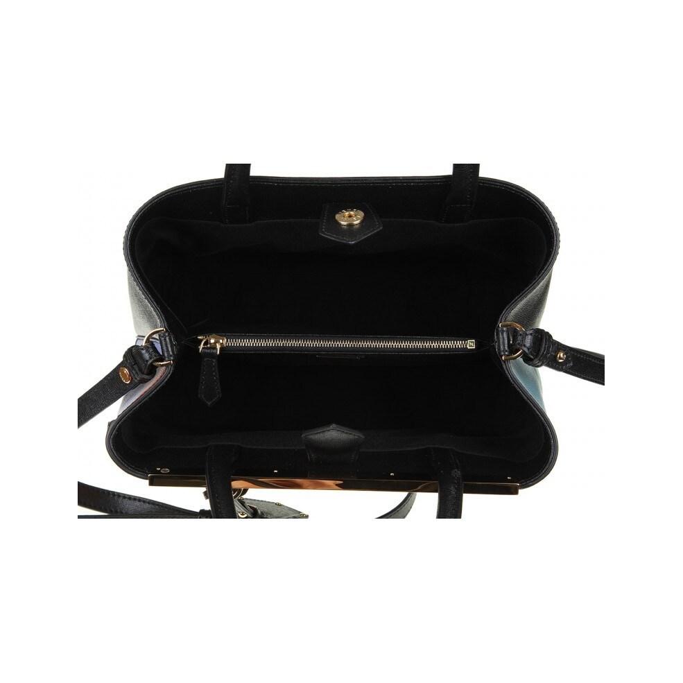 fb8c6c3ab6e Shop Fendi 2Jours Elite Black Leather Shopper Handbag - Free Shipping Today  - Overstock.com - 13778301