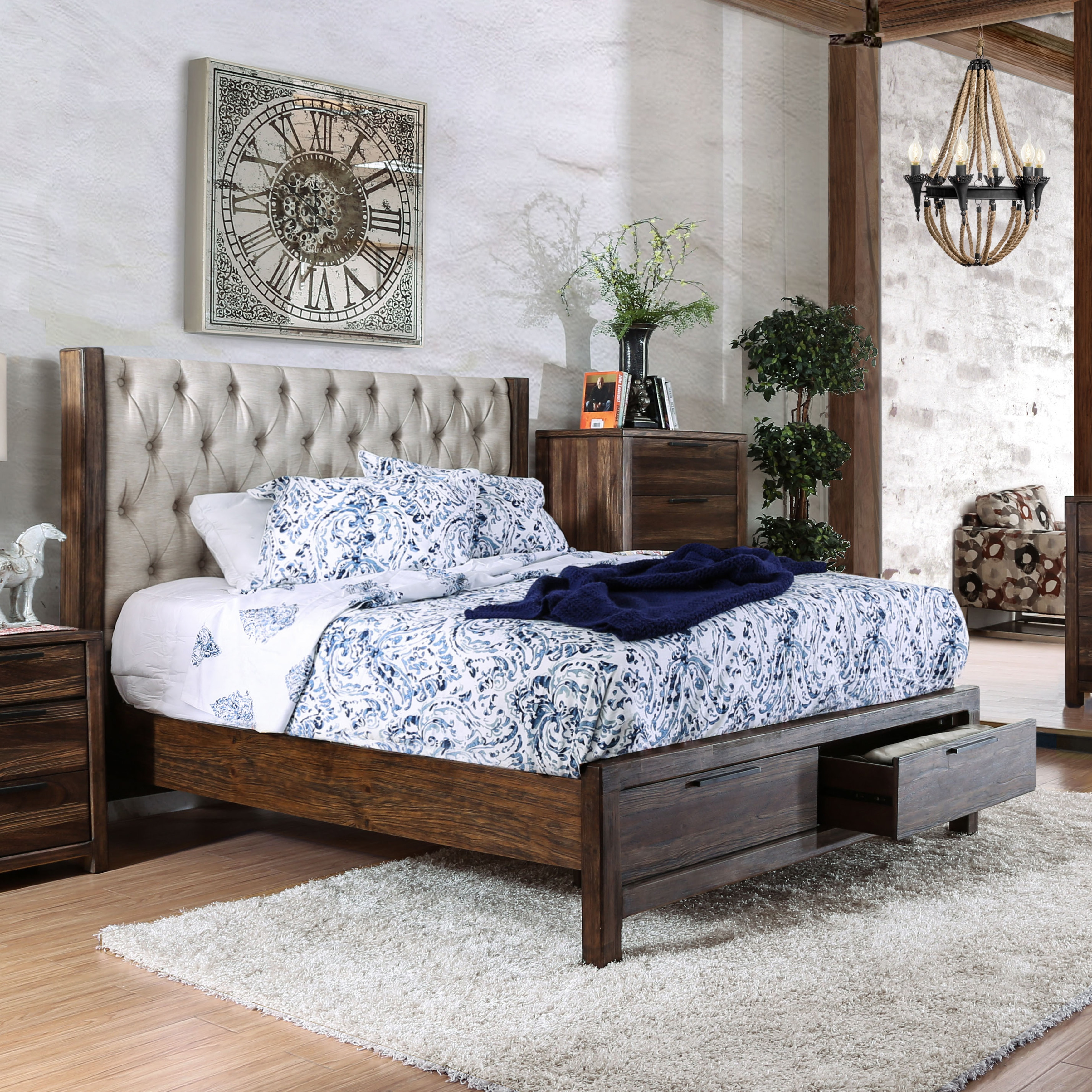 Shop Furniture of America Andrea II Contemporary Button Tufted Rustic Natural Tone Storage Bed - On Sale - Free Shipping Today - Overstock.com - 13779162 & Shop Furniture of America Andrea II Contemporary Button Tufted ...