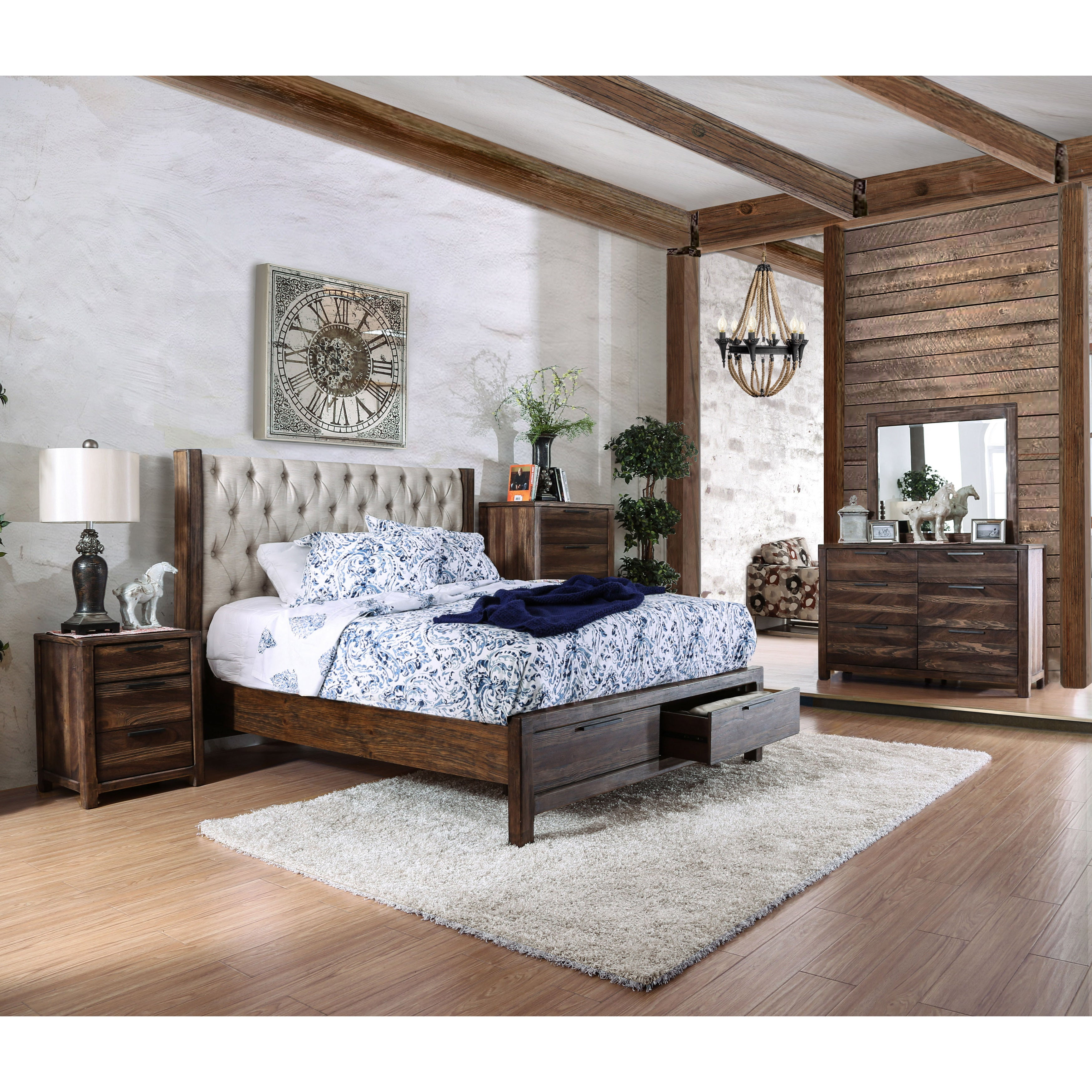 Shop Furniture Of America Andrea II Contemporary Button Tufted Rustic  Natural Tone Storage Bed   On Sale   Free Shipping Today   Overstock.com    13779162