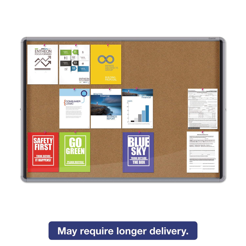 Quartet Enclosed Indoor Cork Bulletin Board With Sliding Glass Doors 56 X 39 Silver Frame