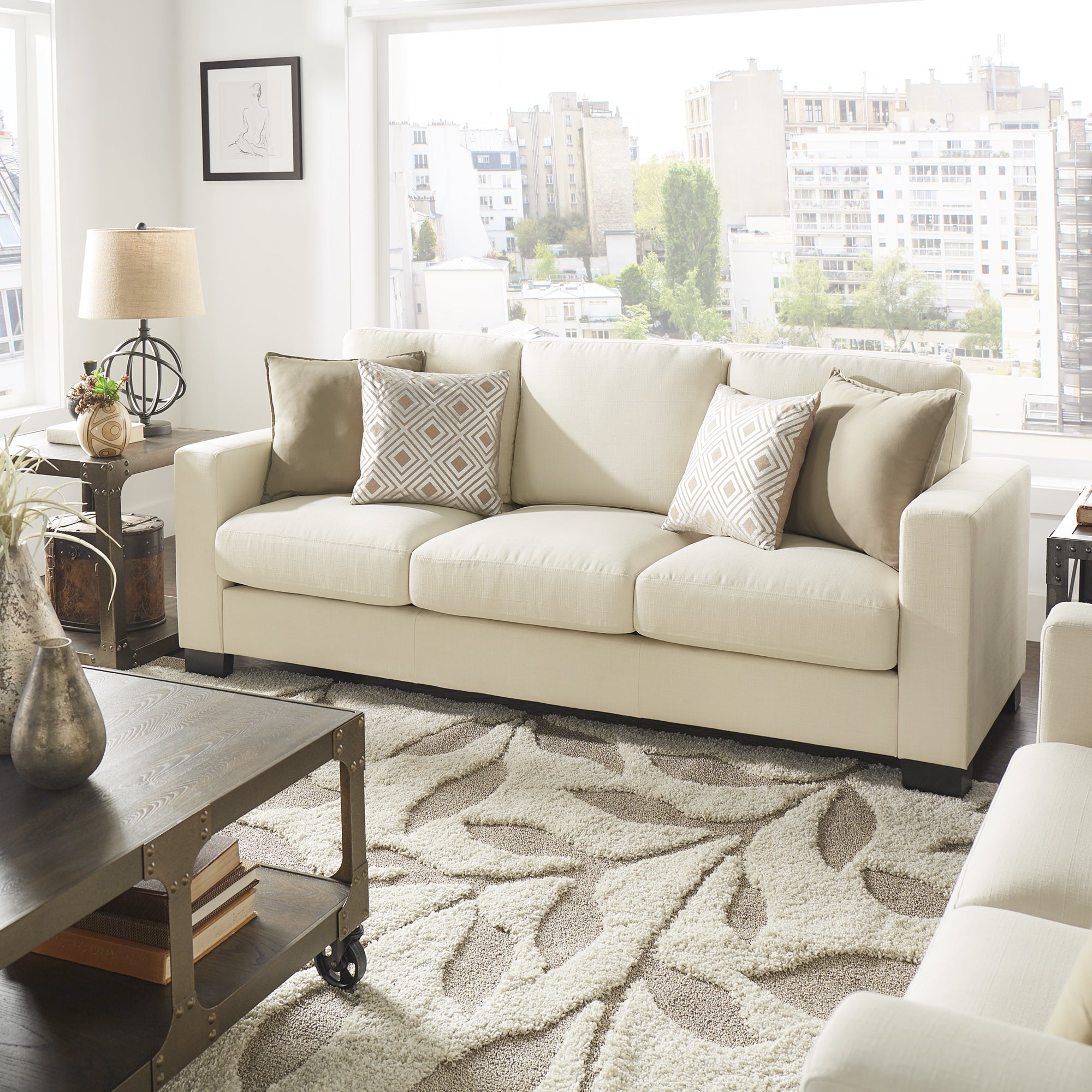 Shop torrington white linen fabric down filled track arm sofa by inspire q artisan on sale free shipping today overstock com 13786818