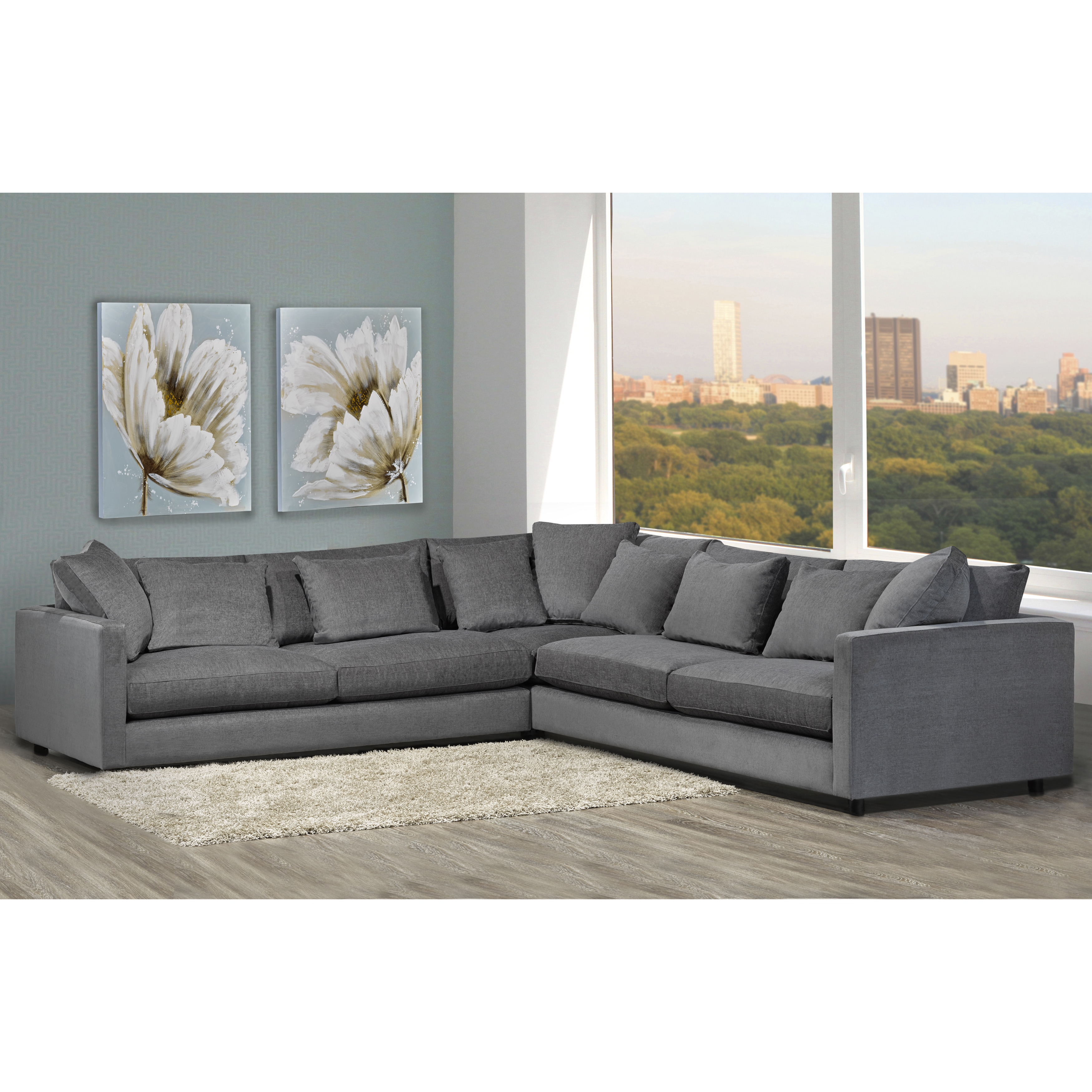 Shop made to order modern lounge down filled grey fabric sectional sofa free shipping today overstock com 13787060