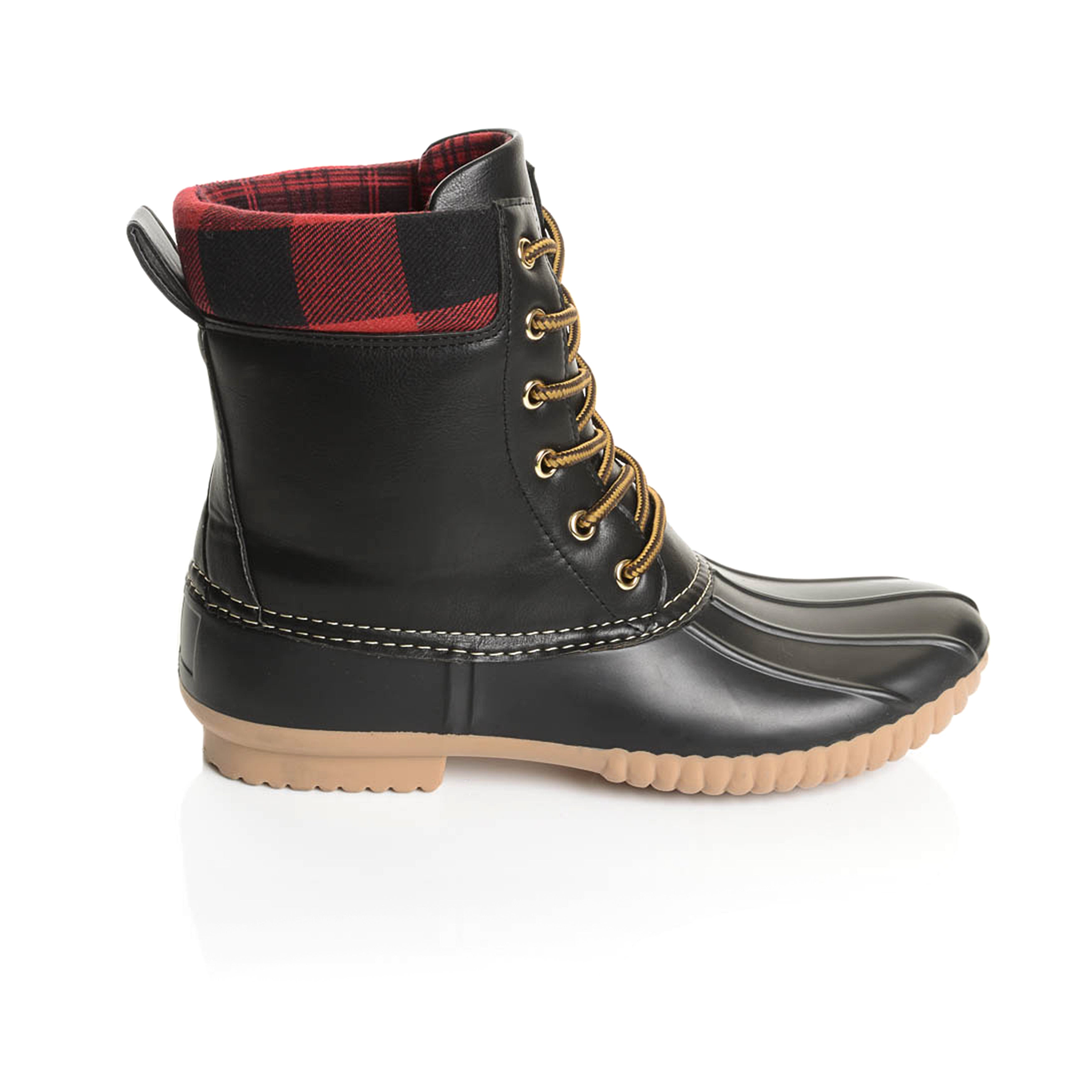 b1104be2d7272a Shop Solo Men s Black Rubber Plaid Collar Duck Boots - Free Shipping Today  - Overstock - 13787124
