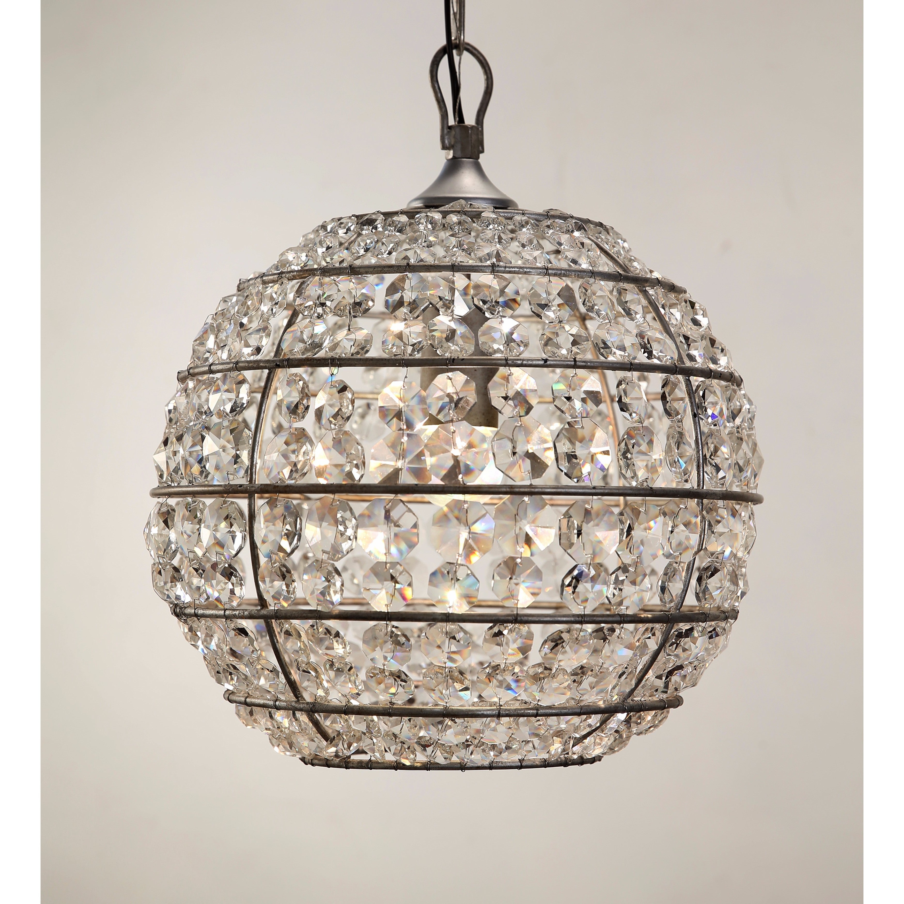 Abbyson Iron and Crystal Globe Chandelier Free Shipping Today