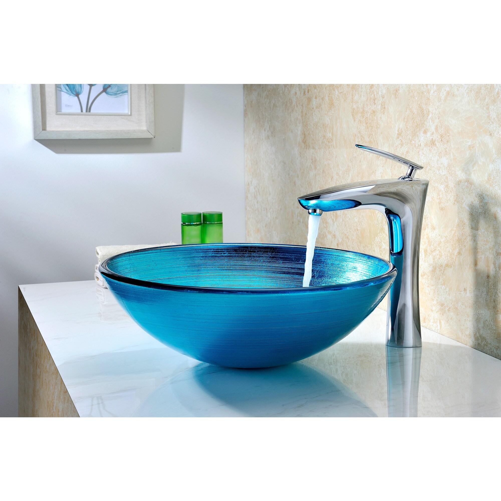Shop ANZZI Enti Series Deco-Glass Blue Vessel Sink - On Sale - Free ...