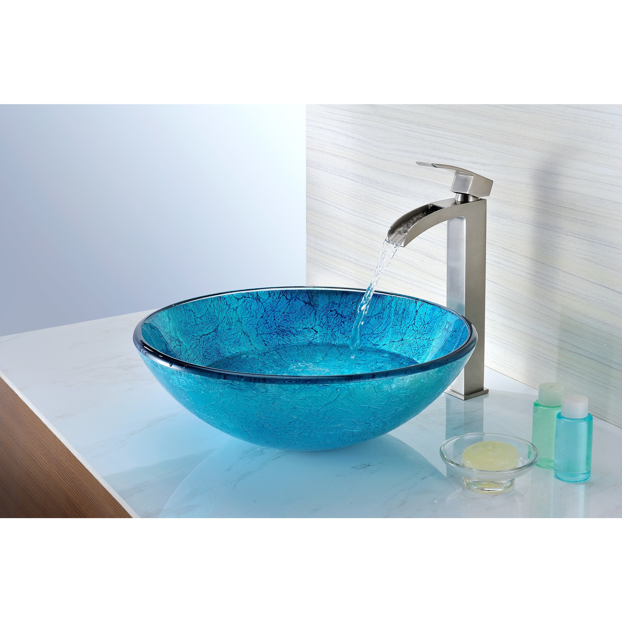 ANZZI Accent Series Deco-Glass Vessel Sink in Emerald Ice - Free ...