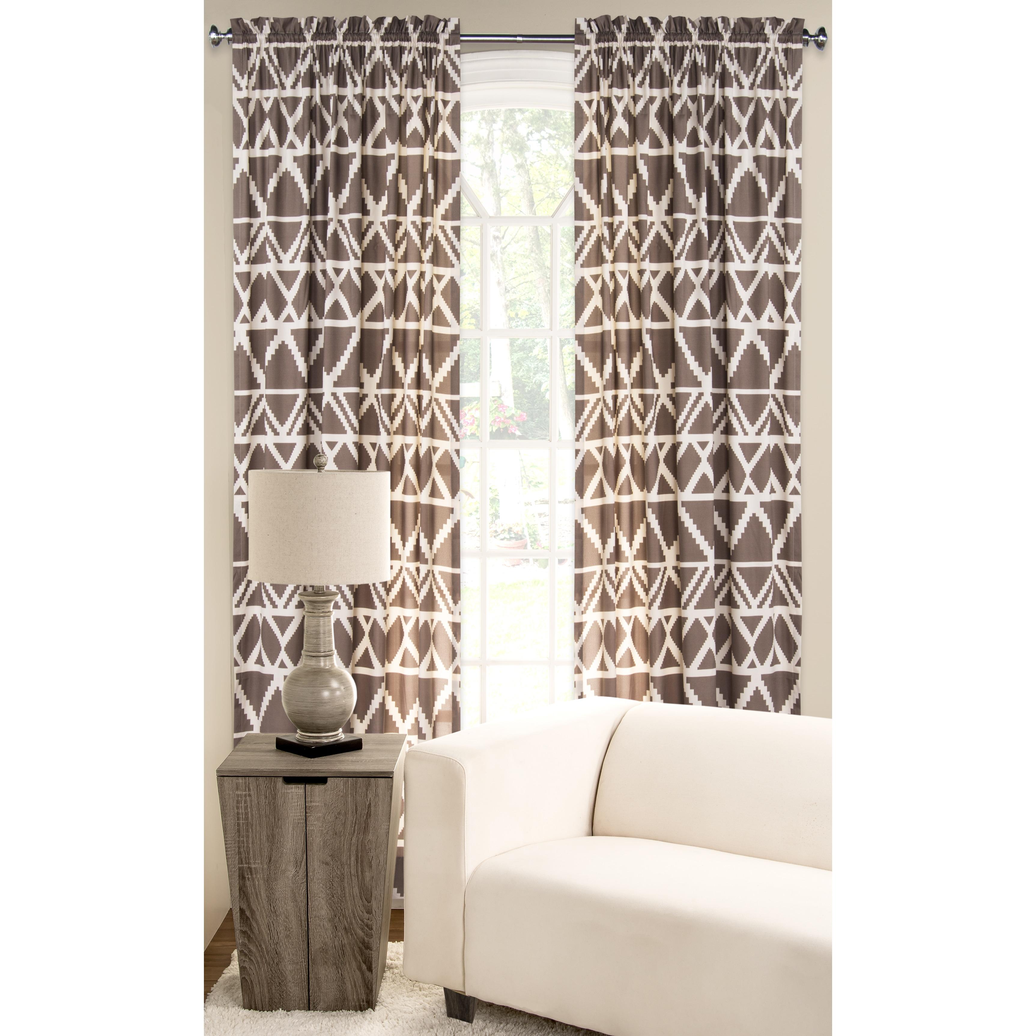 PoloGear Tan Polyester Blend Geometric Tribal Pattern Window Curtain ...