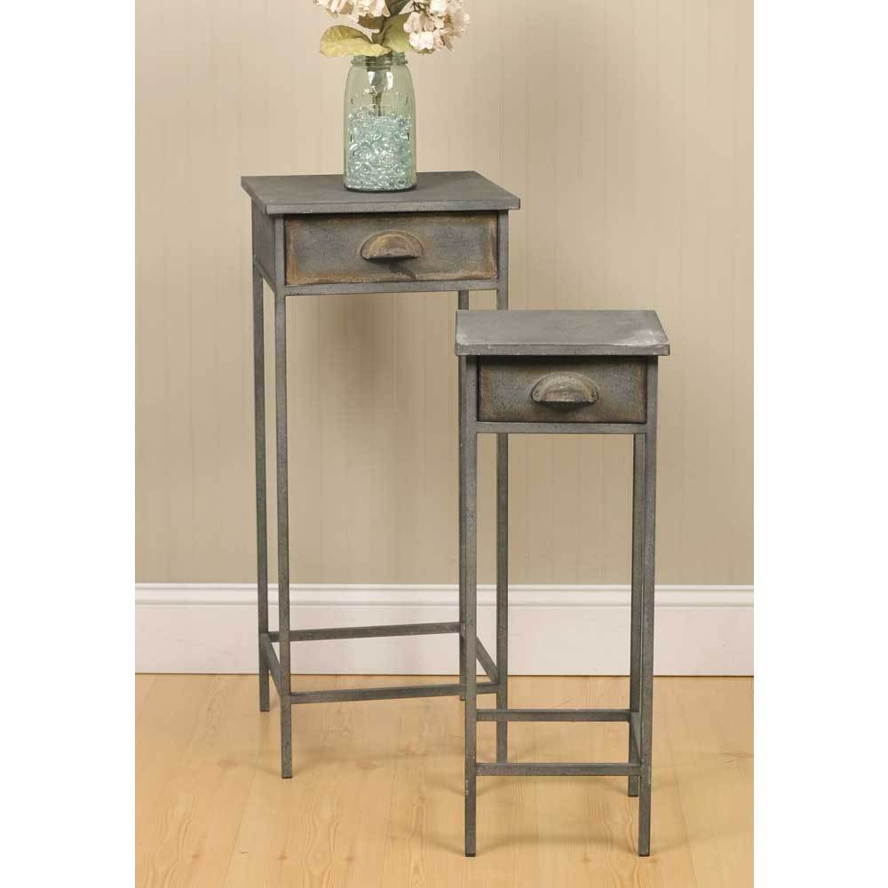 Shop Grey Metal Bedside Tables (Set of 2) - Free Shipping Today - Overstock.com - 13806626  sc 1 st  Overstock & Shop Grey Metal Bedside Tables (Set of 2) - Free Shipping Today ...