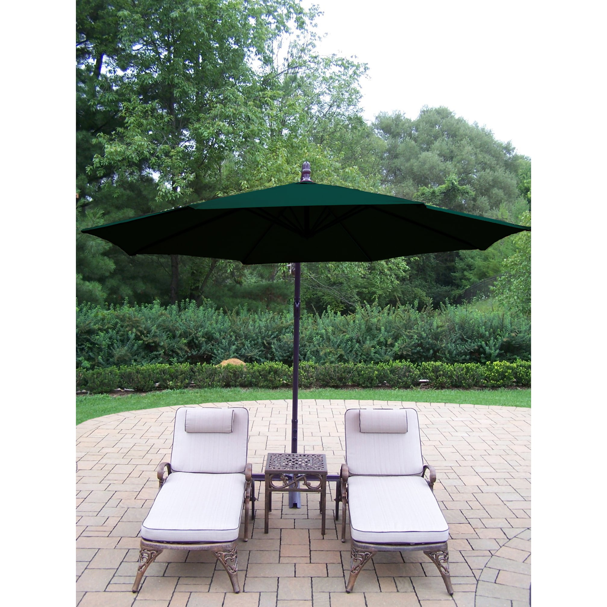 Dakota cast aluminum lounge set with 2 cushioned wheeled chaise lounges square side table and and green cantilever umbrella