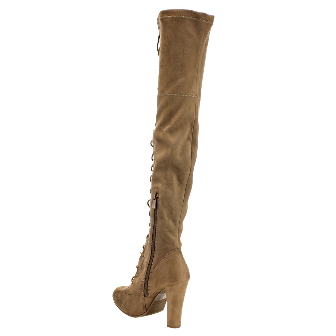 b0c97541fdc Shop Forever Women s IC17 Taupe Faux-suede Lace-up Wrapped-heel Over-the-knee  Boots - Free Shipping Today - Overstock.com - 13808177