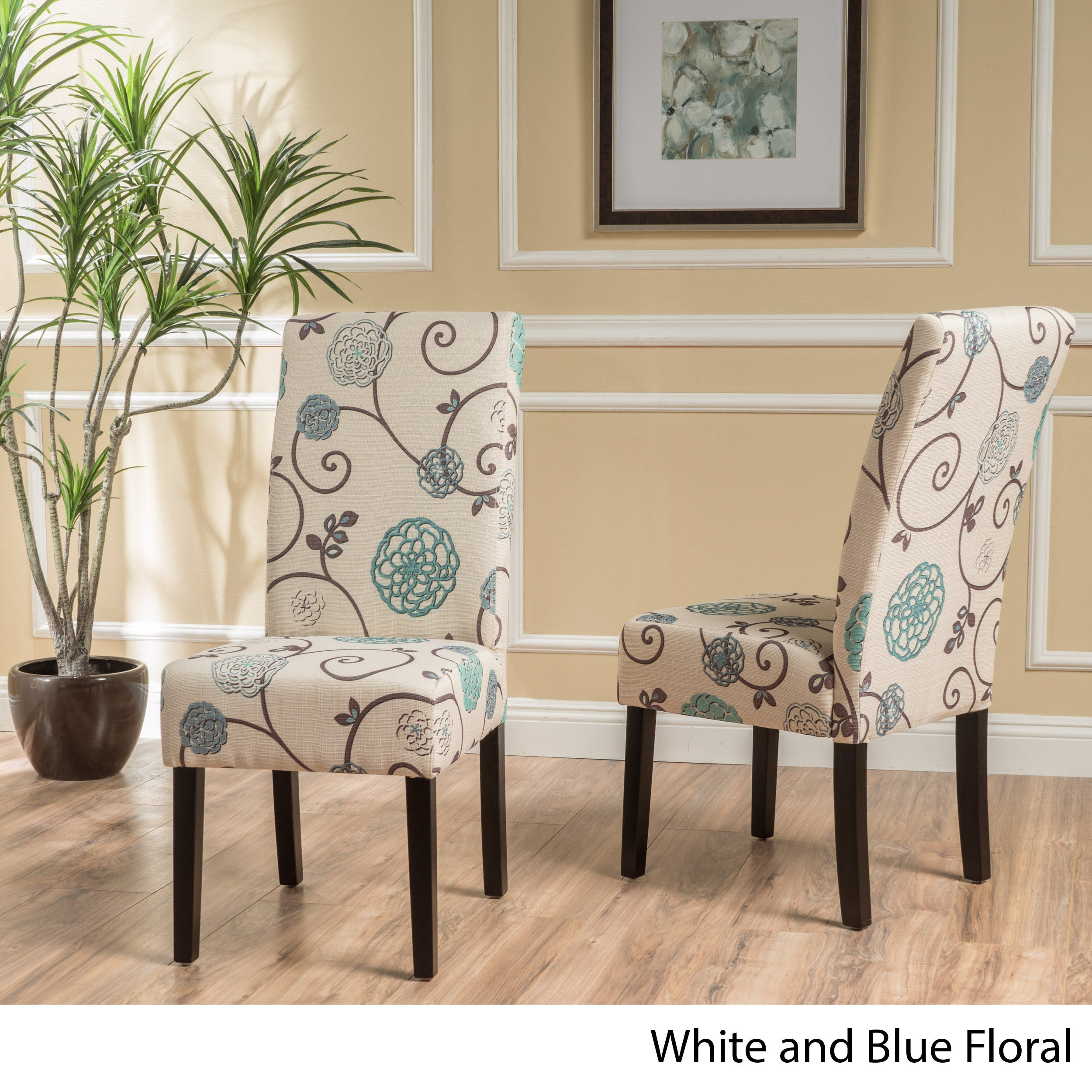 Shop T Stitch Floral Fabric Dining Chair (Set Of 2) By Christopher Knight  Home   On Sale   Free Shipping Today   Overstock   13808373