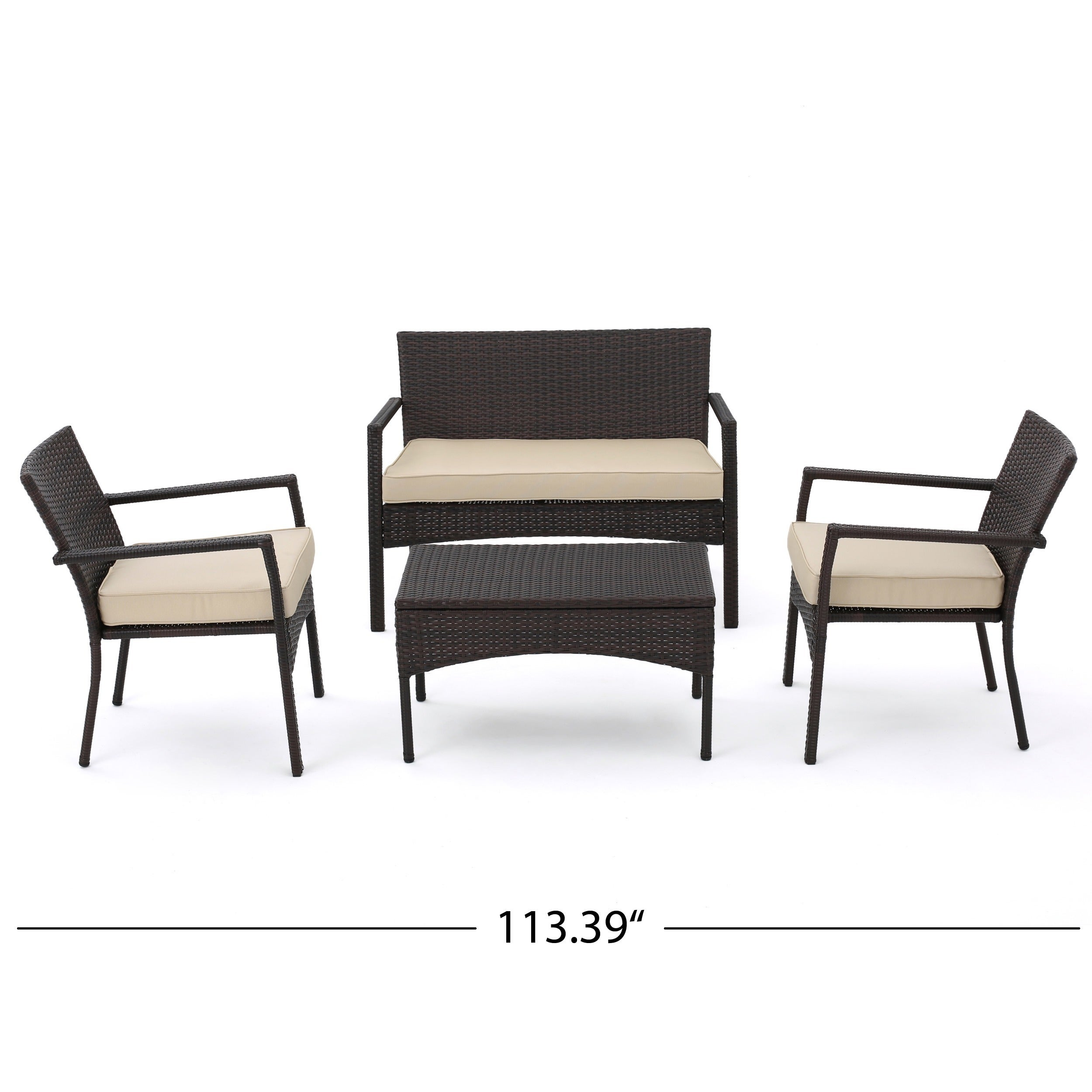 Cancun Outdoor 4-piece Wicker Chat Set with Cushions by ...