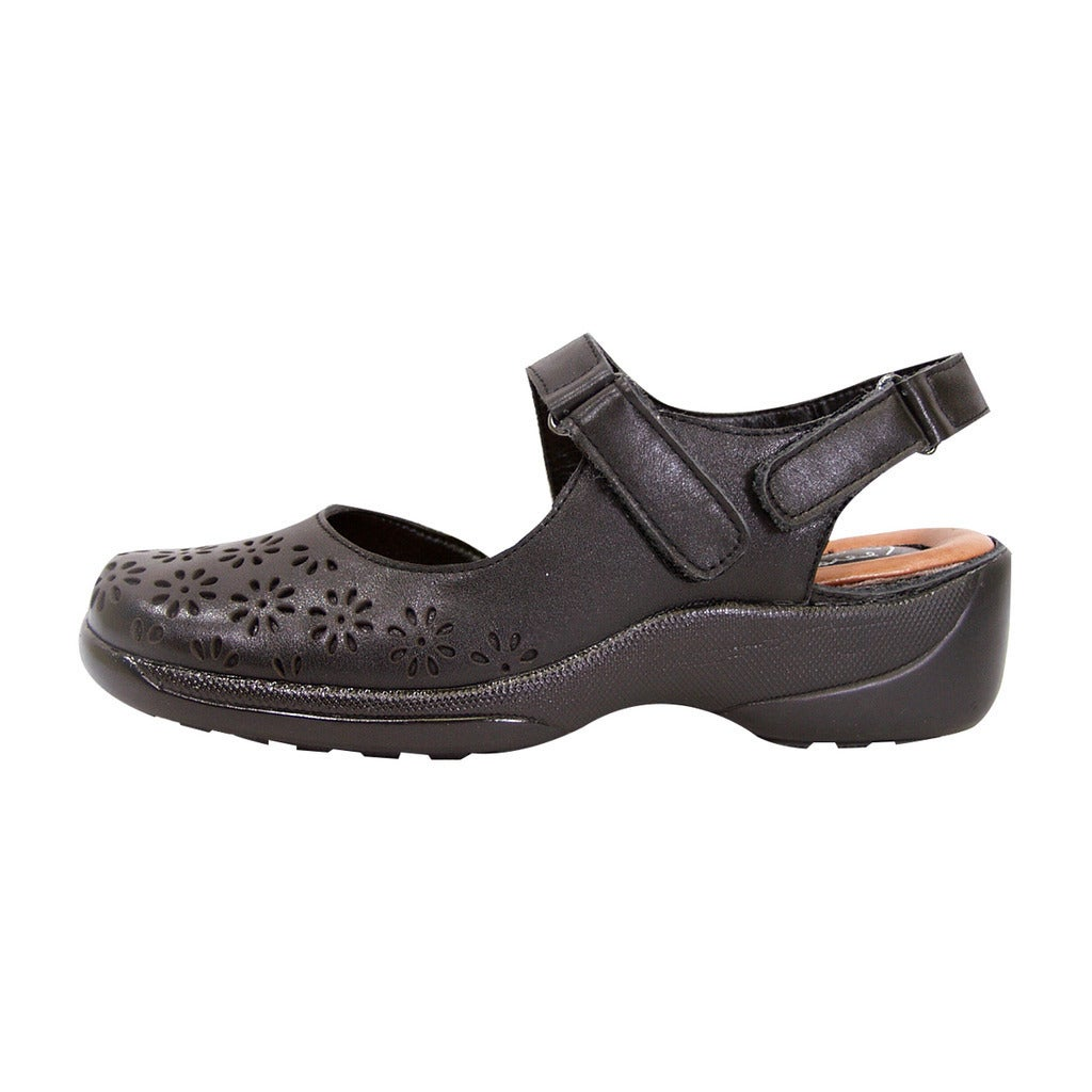 d7df25e2067 Shop FIC Peerage Women s Kylie Black Nappa Leather Extra-wide Slingback  Shoes - Free Shipping Today - Overstock - 13817413