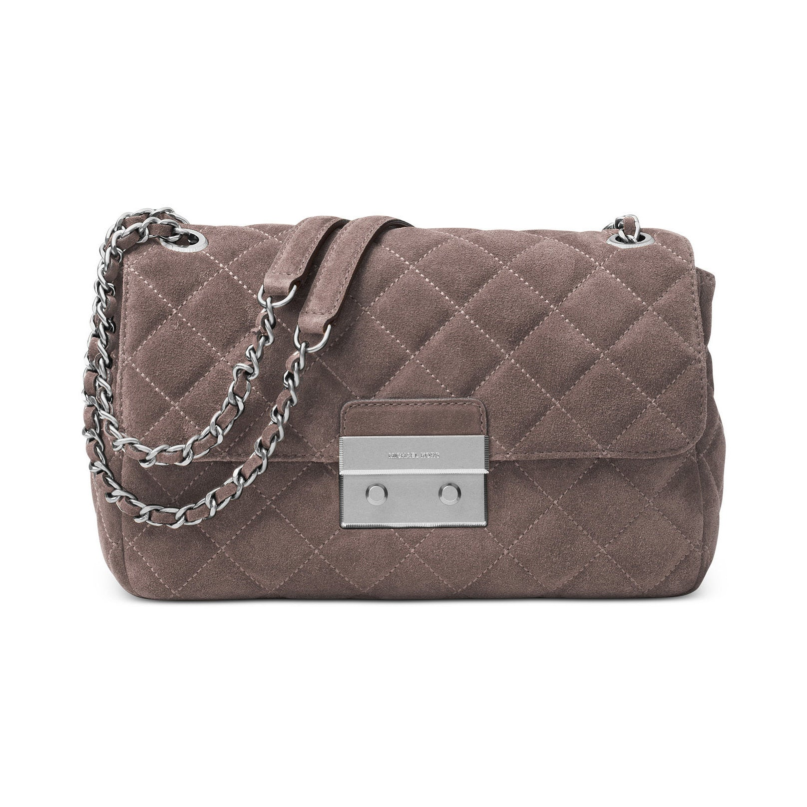 c1685ded3830 Shop MICHAEL Michael Kors Sloan Grey Leather Large Quilted Shoulder Flap  Cinder Bag - Free Shipping Today - Overstock - 13817680