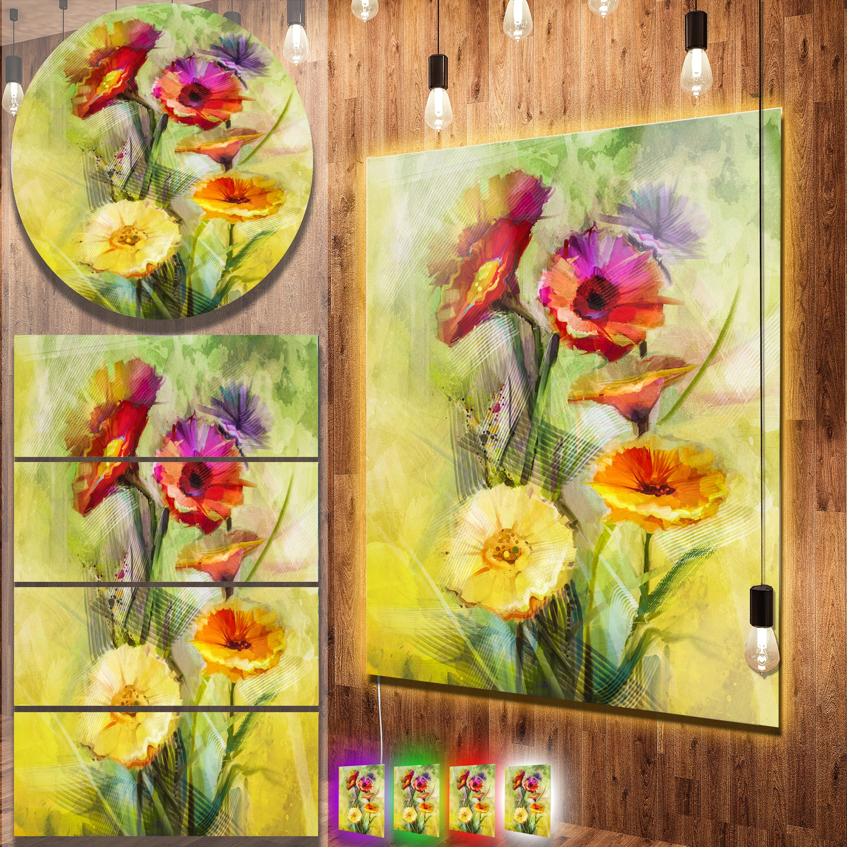 Designart \'Bouquet of Gerbera Flowers Watercolor\' Large Floral Metal ...