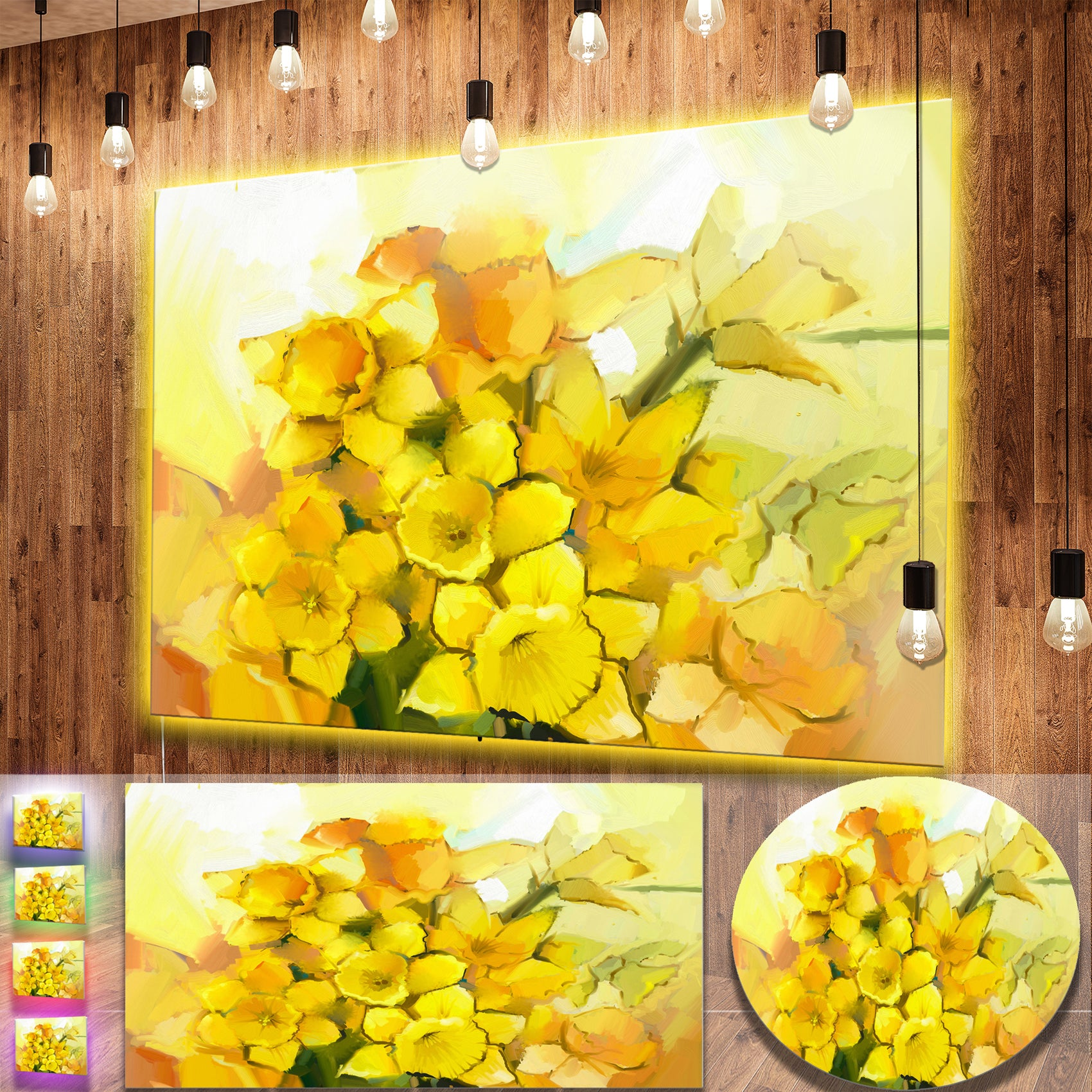 Shop Designart \'Bouquet of Yellow Narcissus Flowers\' Large Floral ...