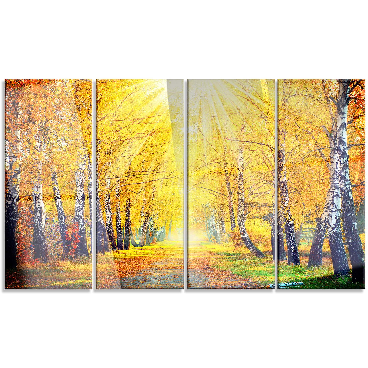 Shop Designart \'Yellow Autumn Trees in Sunray\' Large Landscape Art ...