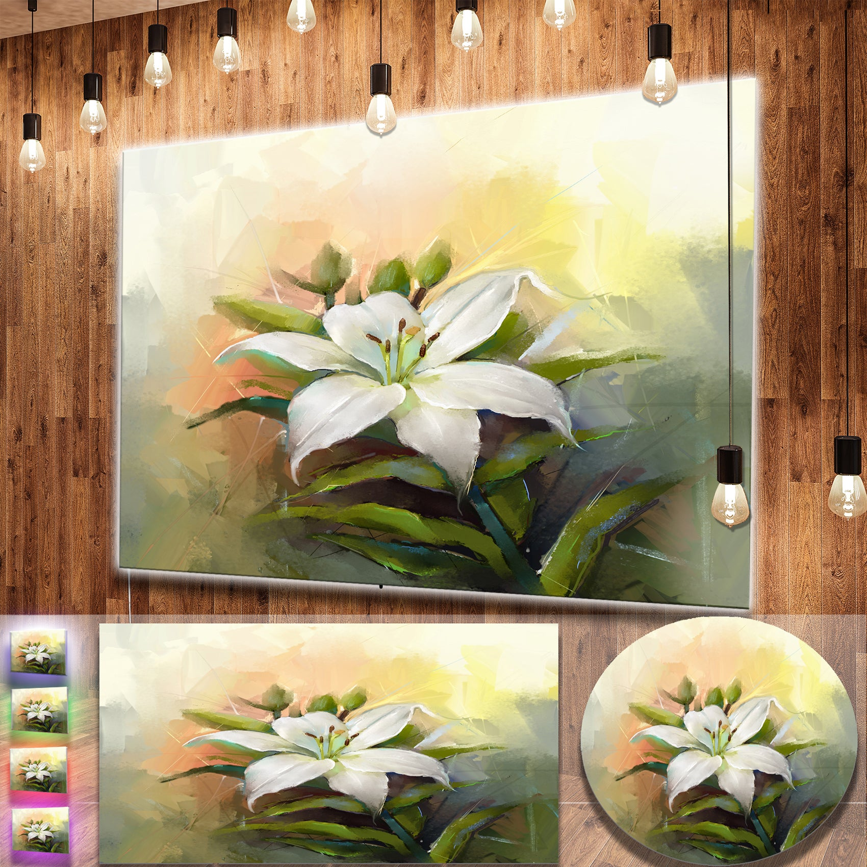 Designart White Lily Flower Oil Painting Contemporary Floral Metal Wall Art