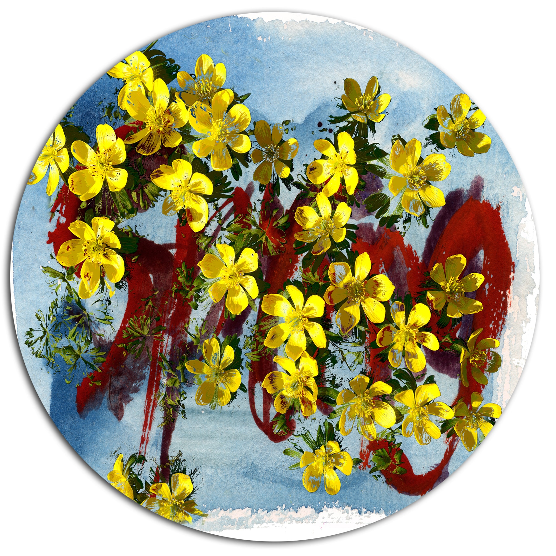 Shop Designart \'Lettering and Yellow Spring Flowers\' Floral Metal ...