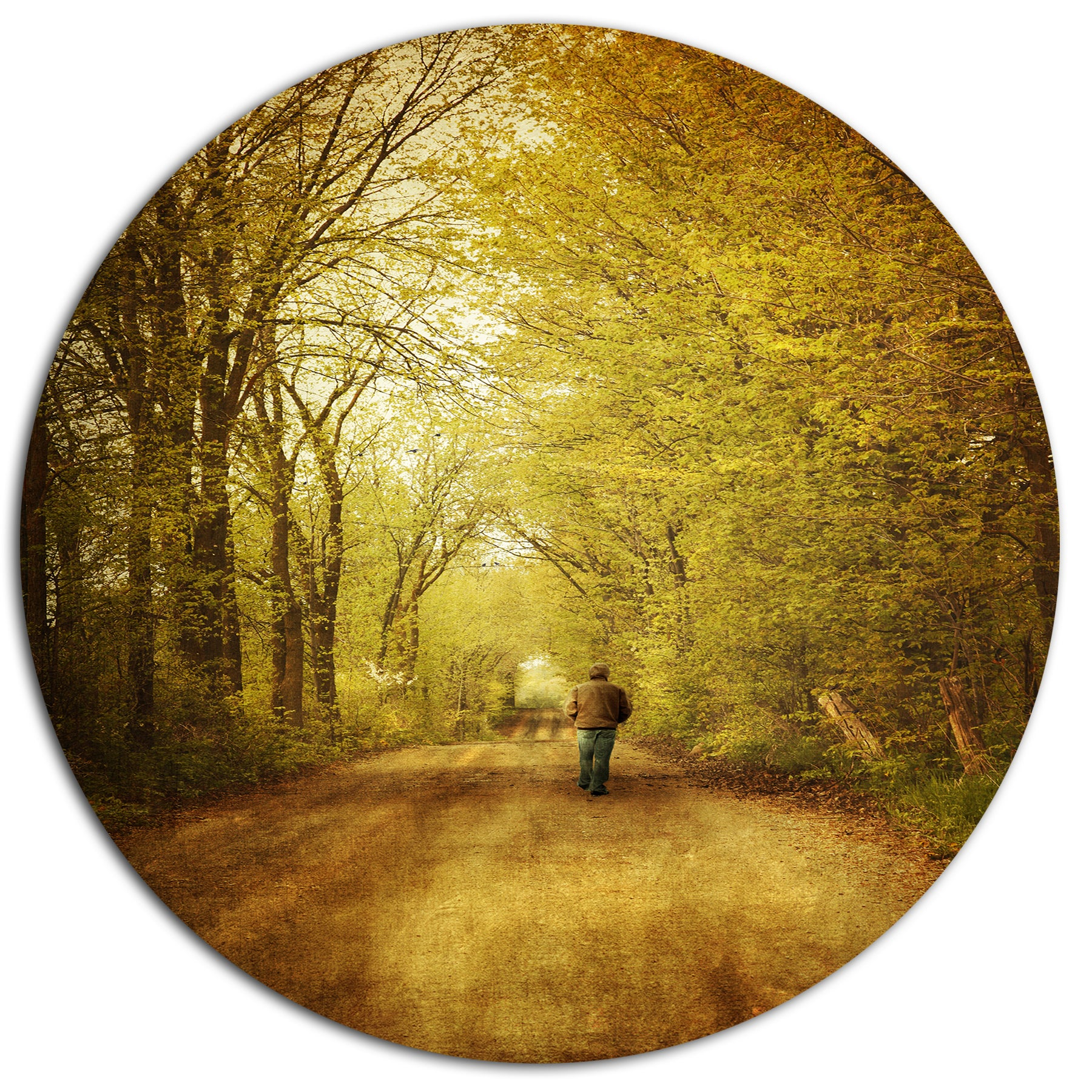 Designart \'Man Walking Lonely on Rural Road\' Landscape Metal Wall ...