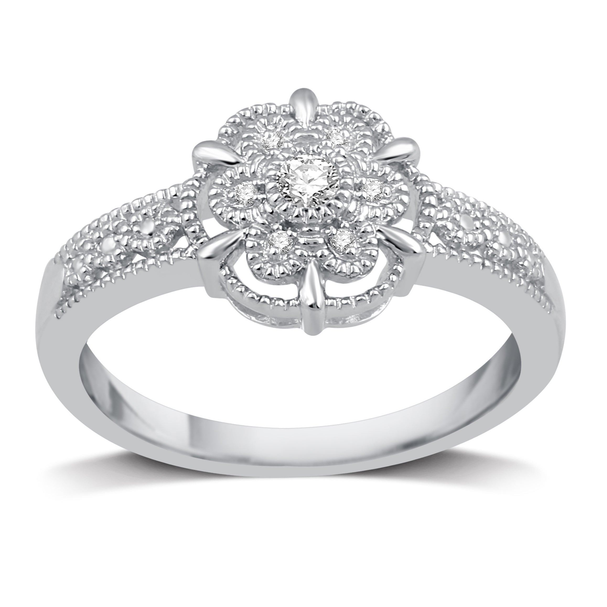 60cde9e3b2a Sterling Silver 1/20ct TDW Diamond Flower Shaped Ring