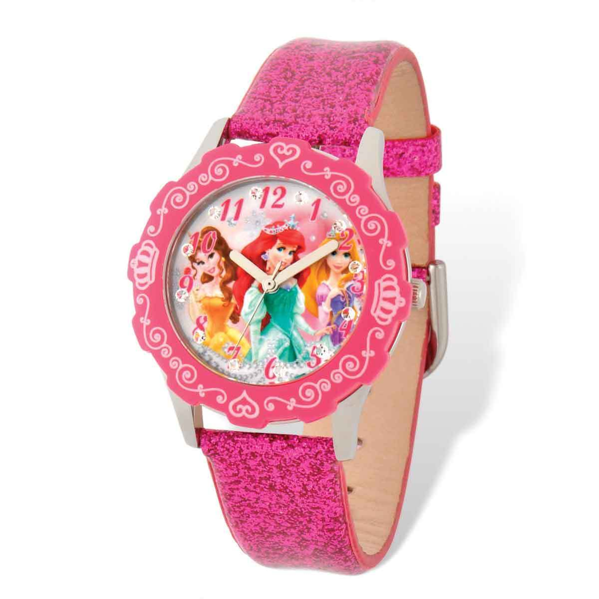 Shop Disney Princess Belle/Ariel/Rapunzel Pink Leather Tween Watch ...