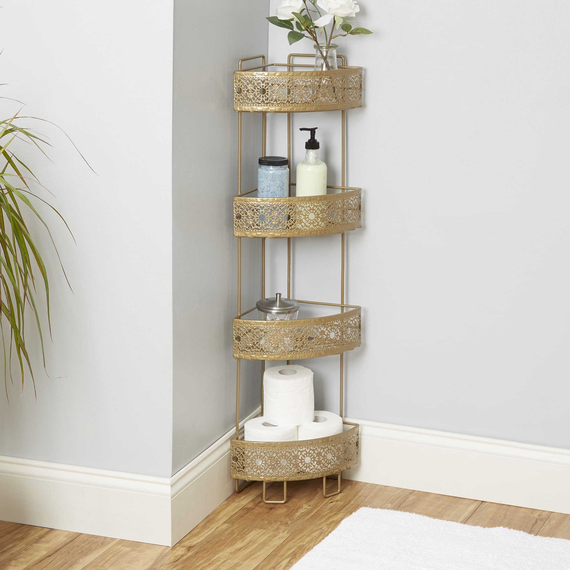 Filigree Bathroom Collection Corner Caddy - Free Shipping On Orders Over  $45 - Overstock.com - 20474092
