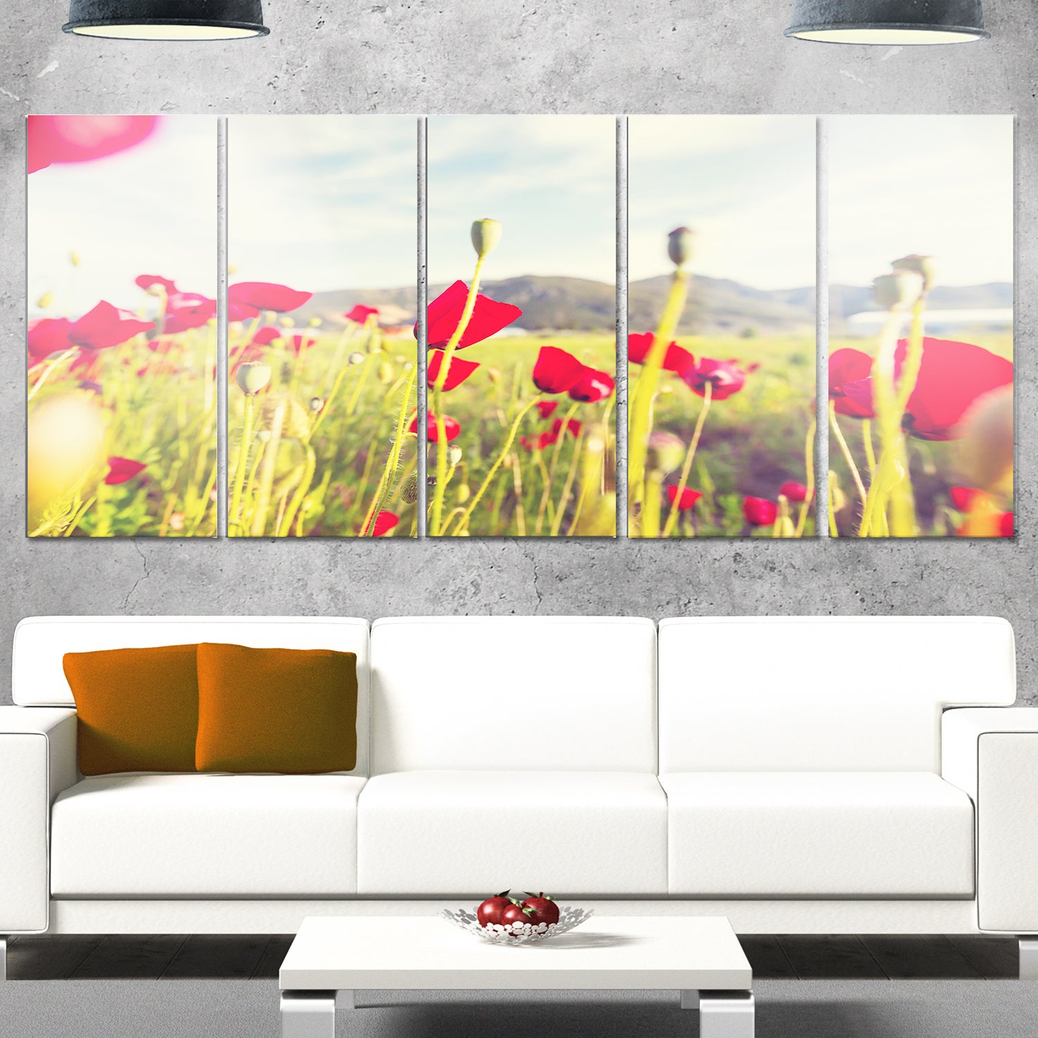 Designart \'Wild Red Poppy Flowers in Field\' Large Flower Metal Wall ...