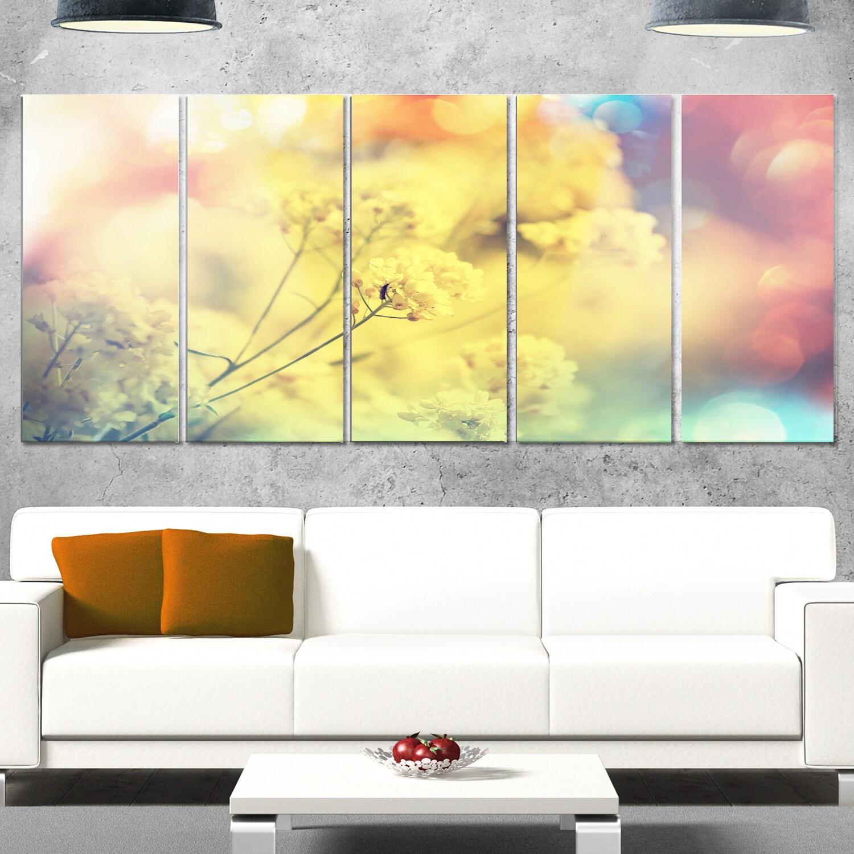 Designart \'Light Little Yellow Flowers Background\' Large Flower ...