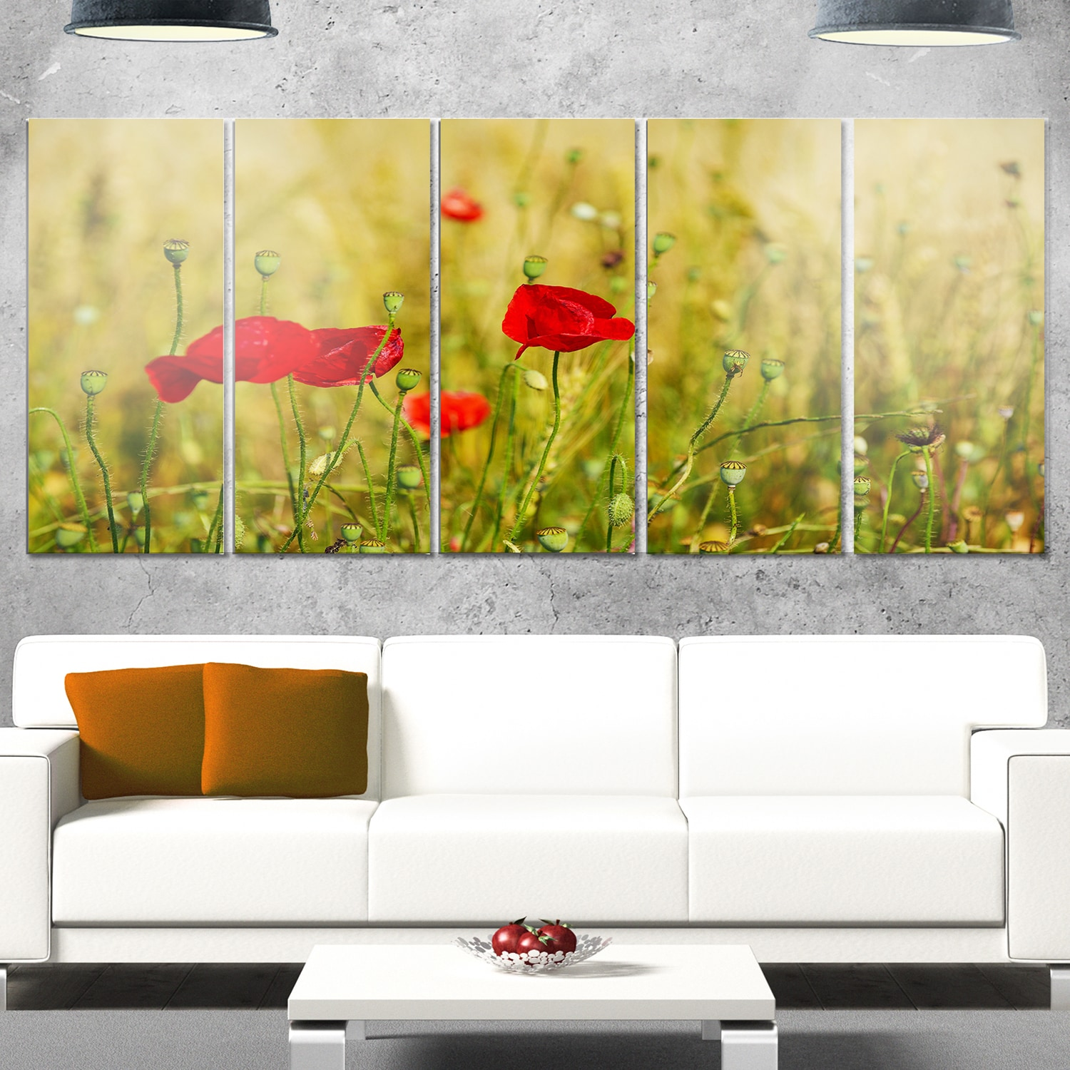 Designart \'Red Poppy Flower Field Background\' Large Flower Glossy ...