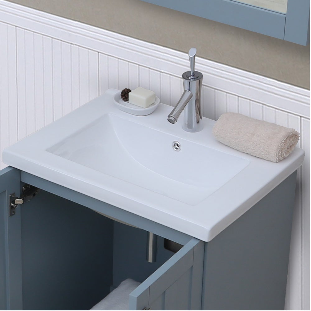 24 inch Extra thick Ceramic Sink-top Single Sink Bathroom Vanity in ...