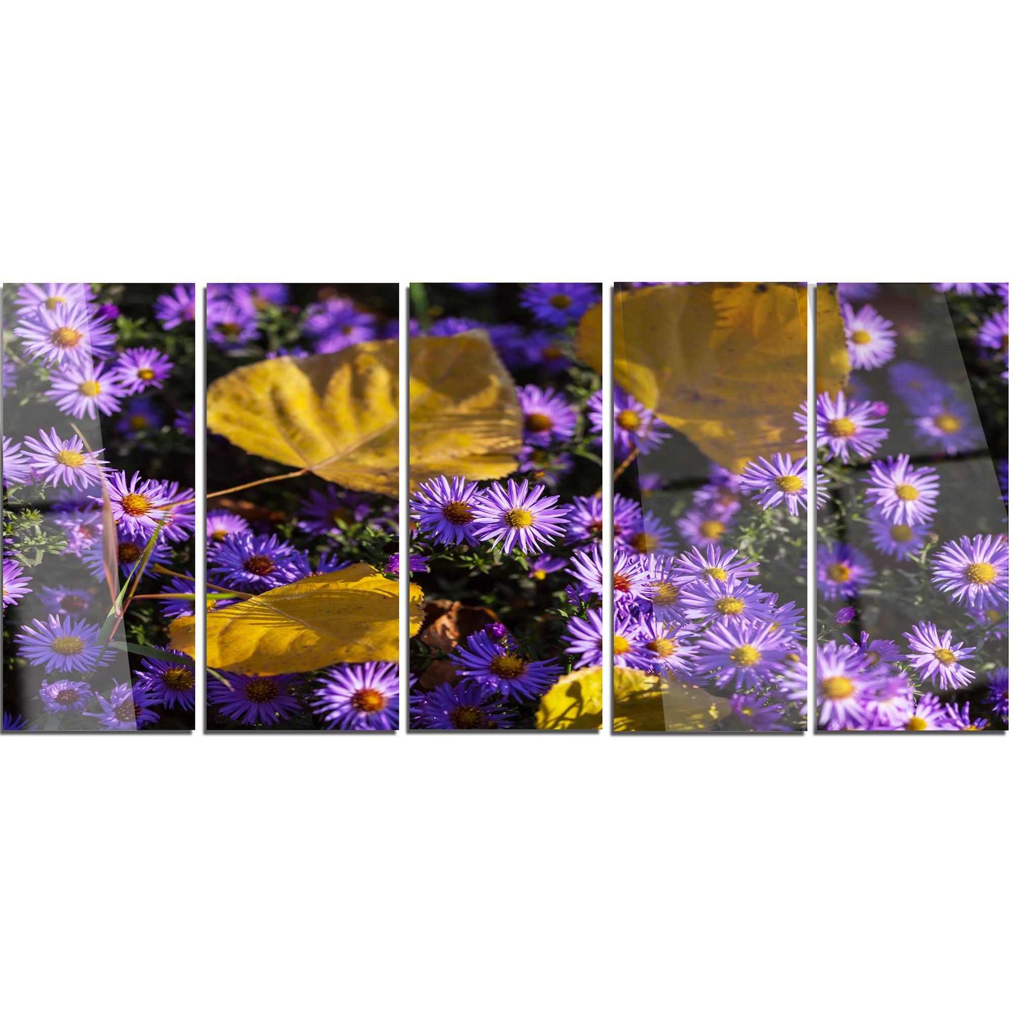 Shop Designart Little Purple Flowers And Yellow Leaves Modern