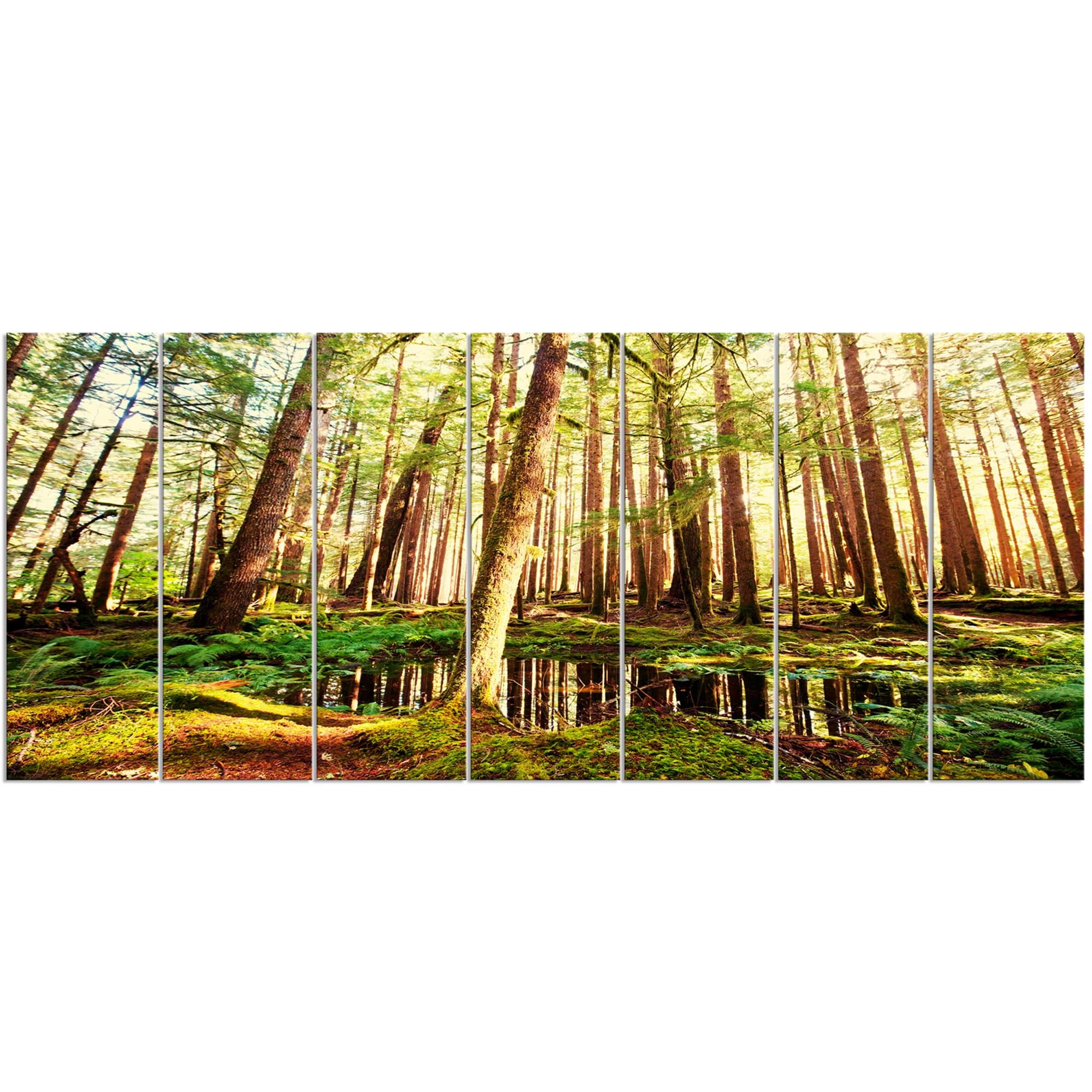 Shop Designart \'Dense Trees in Green Rain Forest\' Oversized ...