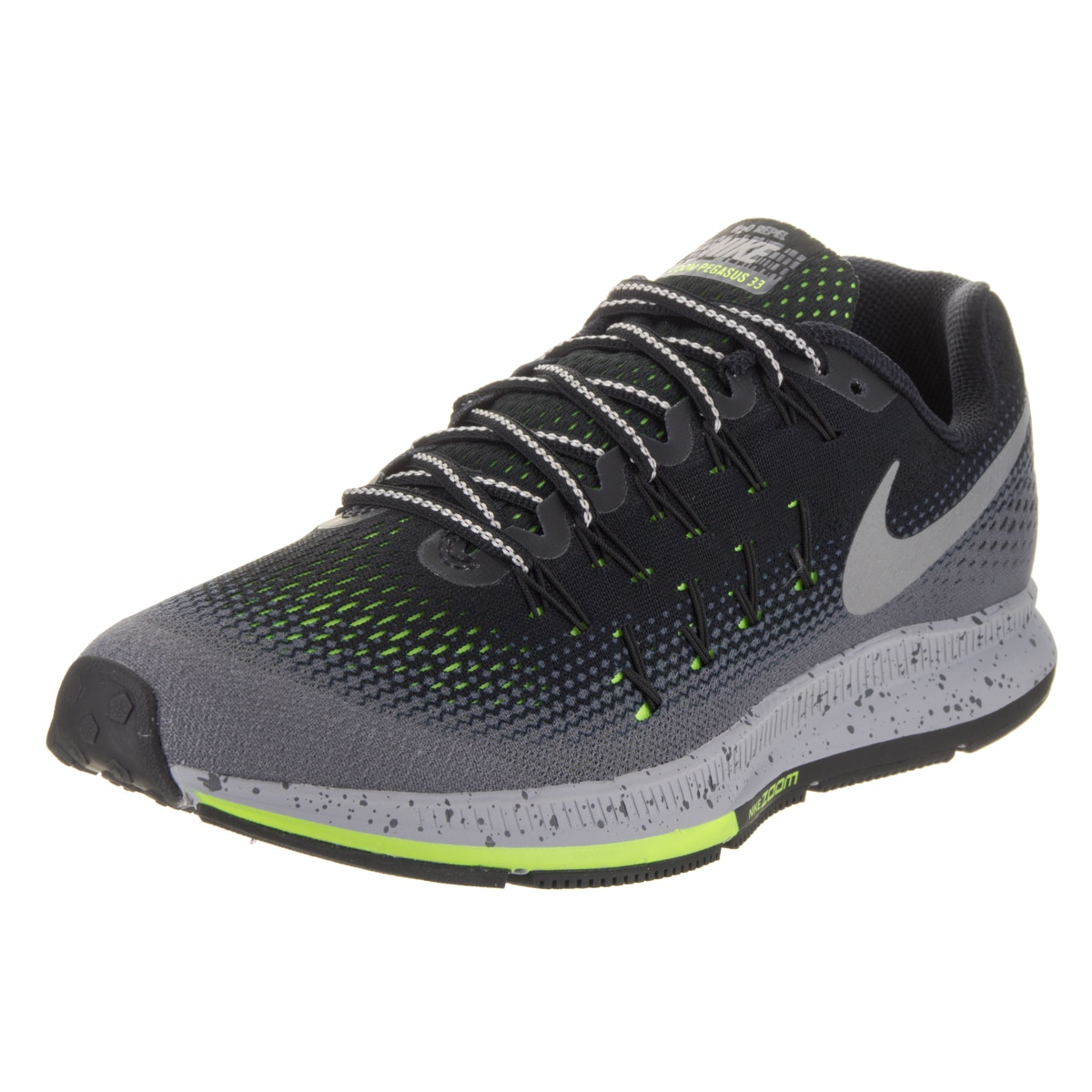reputable site 5fa18 9ee9b Nike Men's Air Zoom Pegasus 33 Shield Black Synthetic Leather Running Shoes