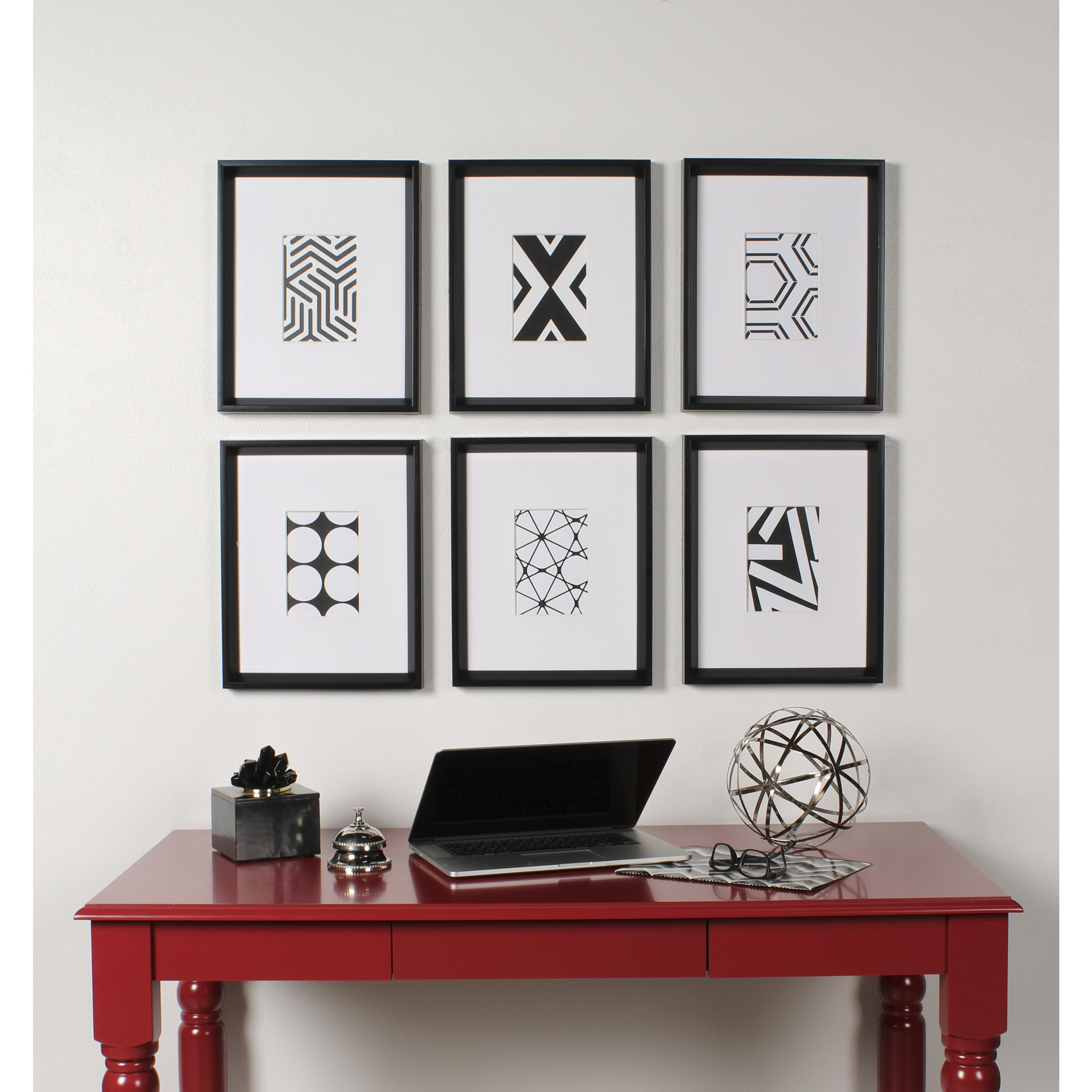 Shop Kate and Laurel Calter 6 Piece Framed Black and White Print Art ...