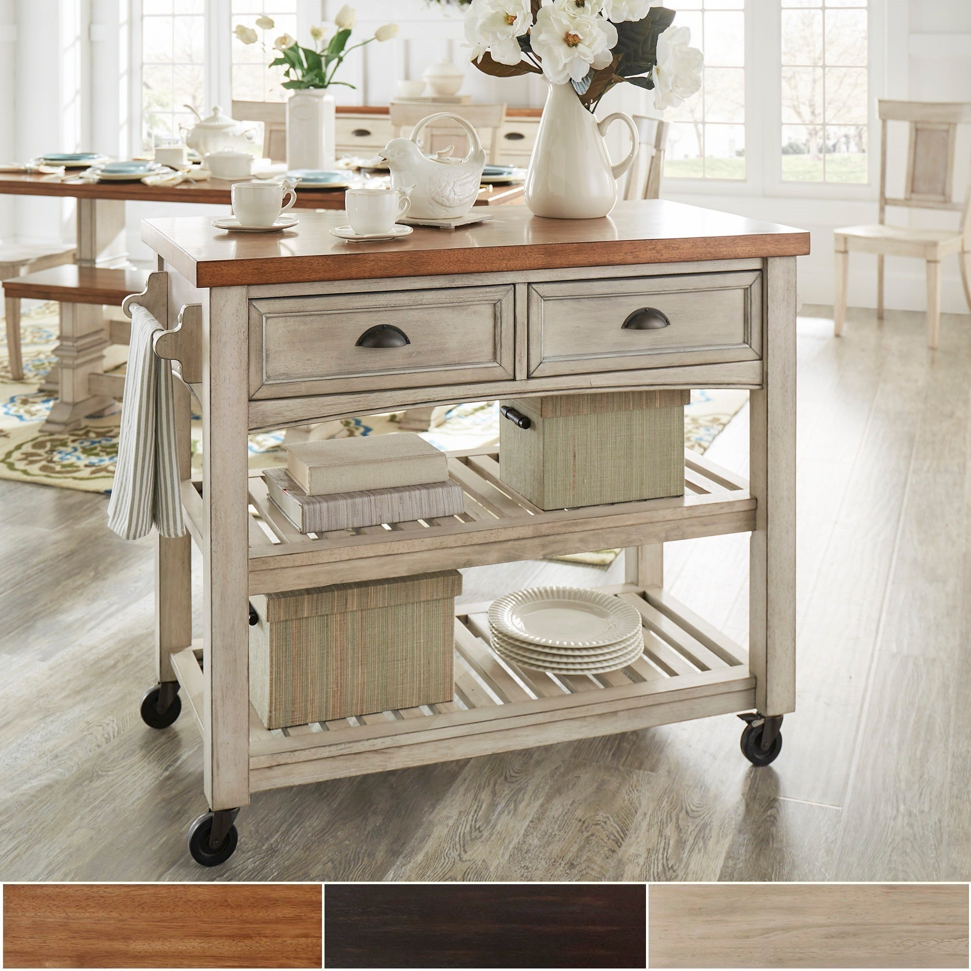 Shop eleanor two tone rolling kitchen island by inspire q classic on sale free shipping today overstock com 13840583