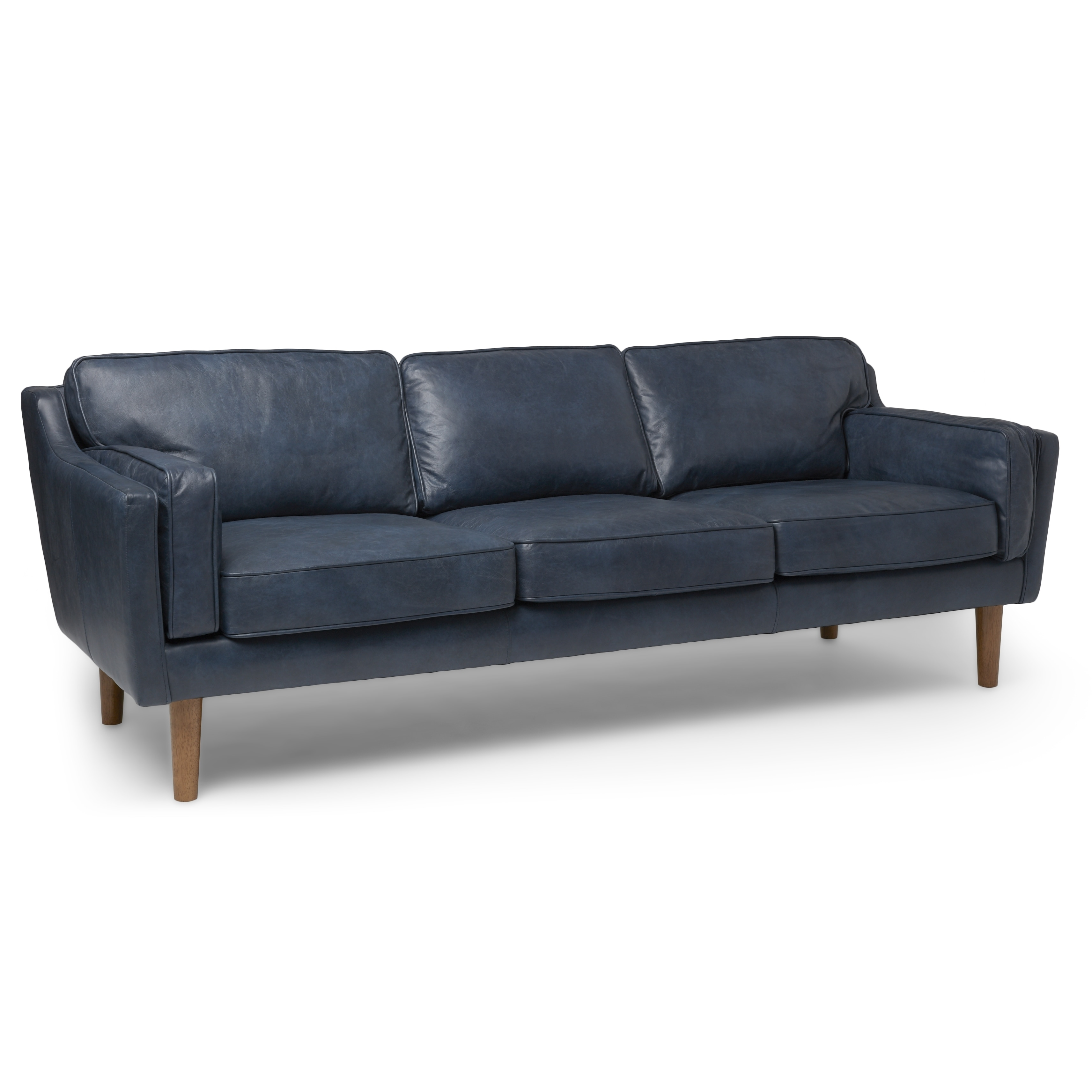 Jasper Laine Beatnik Oxford Leather Blue Sofa Free Shipping Today 13840865