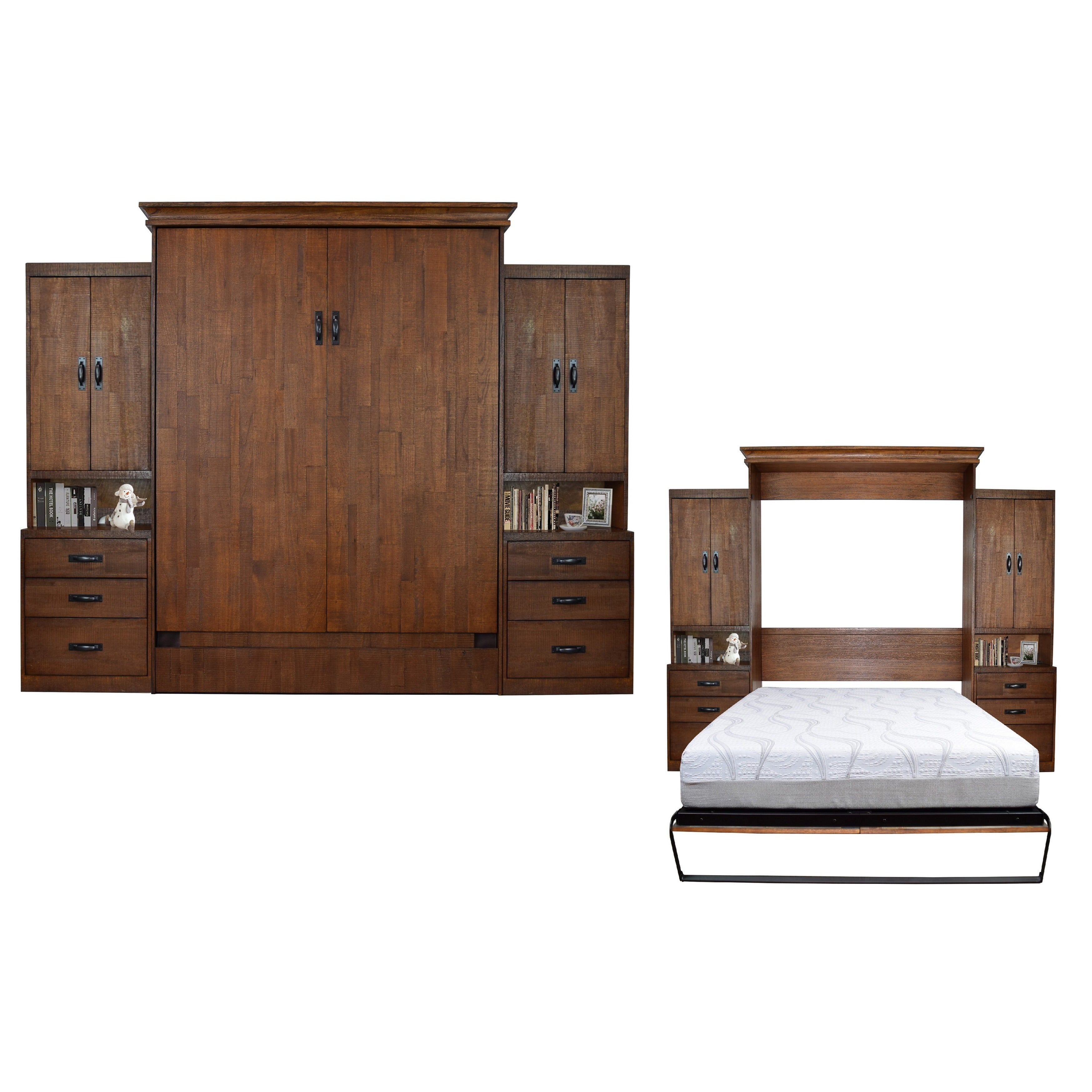 Shop Saw Mill Reclaimed Brown Queen Size Murphy Bed With 2 Pier Cabinets    Free Shipping Today   Overstock.com   13842097