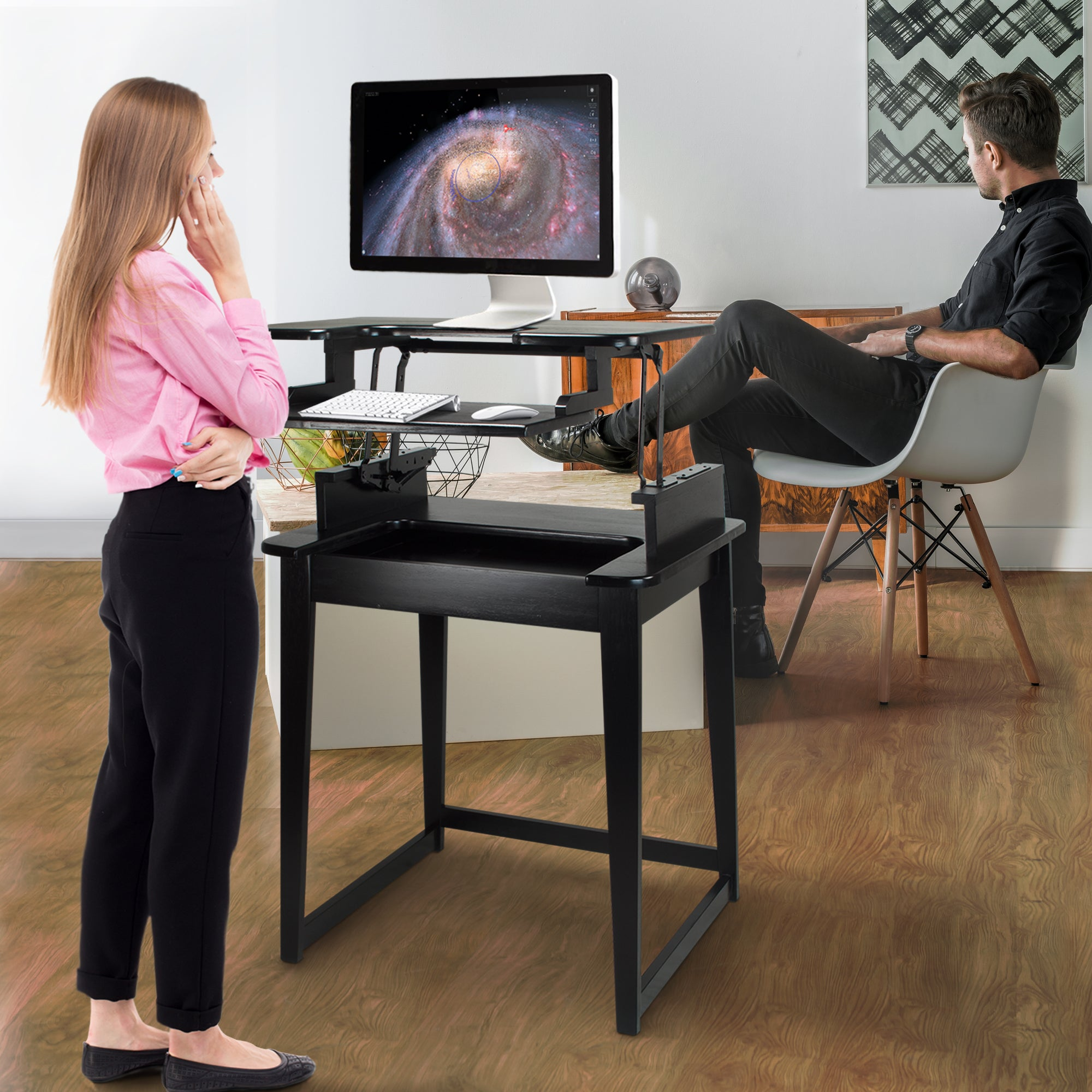 Shop contemporary freestyle stand up or sit down black wood desk free shipping today overstock com 13843047