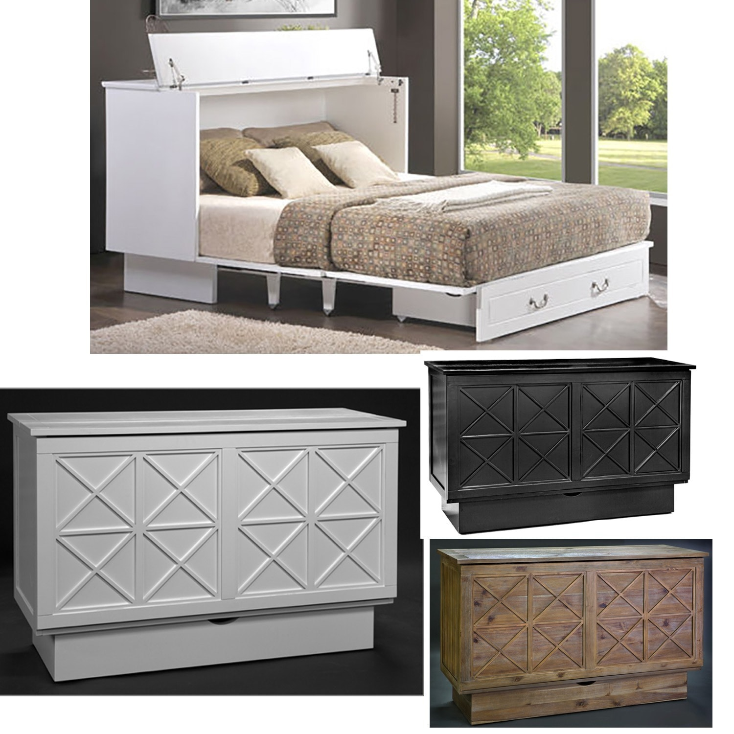 Essie Cabinet Bed With Queen Mattress   Free Shipping Today   Overstock.com    20486446