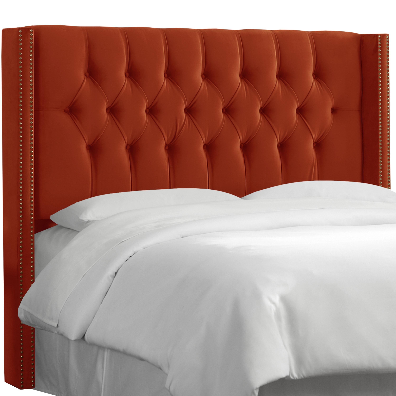 Skyline furniture hacienda orange velvet tufted headboard