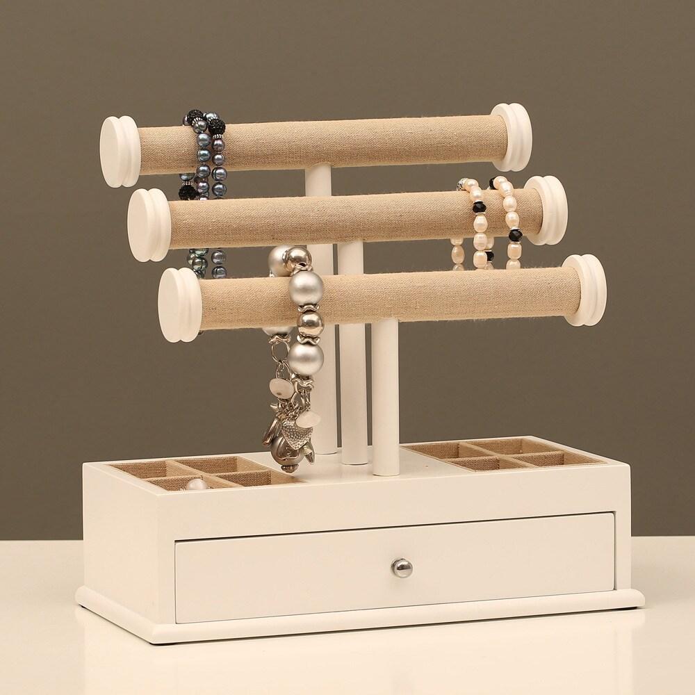 Ikee Design WoodLinen 3tier TBar Jewelry Organizer Free