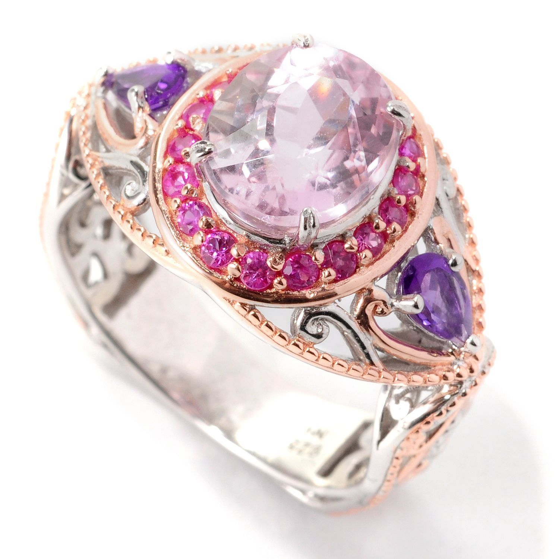 Michael Valitutti Palladium Silver Oval Kunzite, Pink Sapphire ...